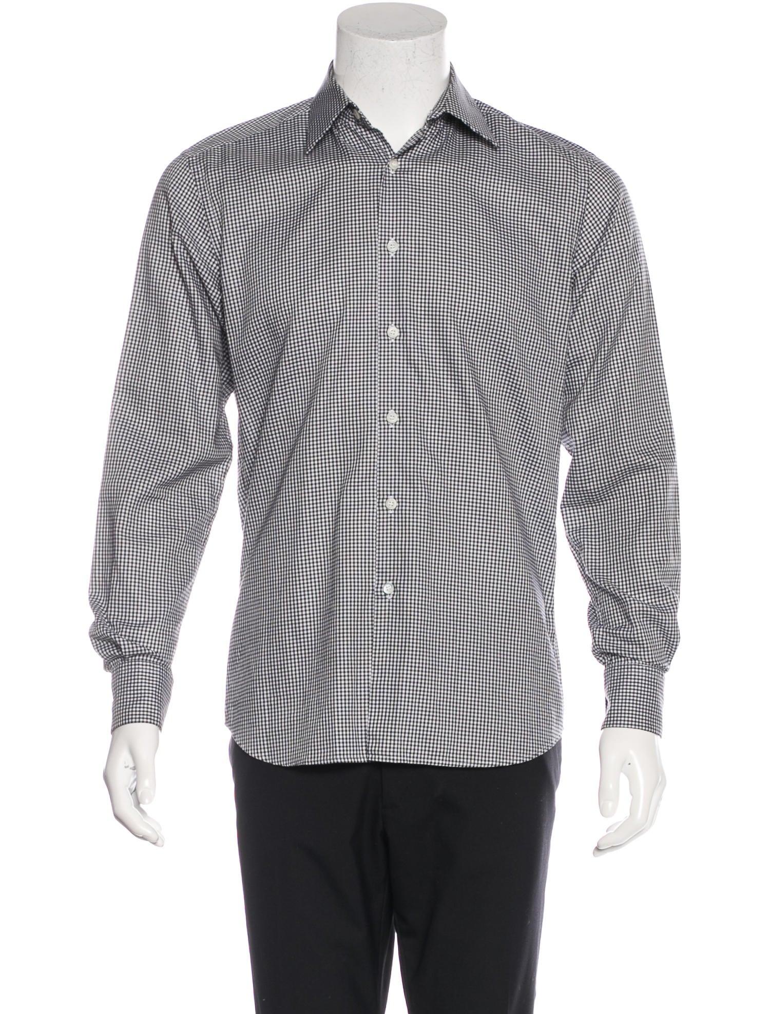 Prada gingham dress shirt clothing pra133592 the for Men s red gingham dress shirt