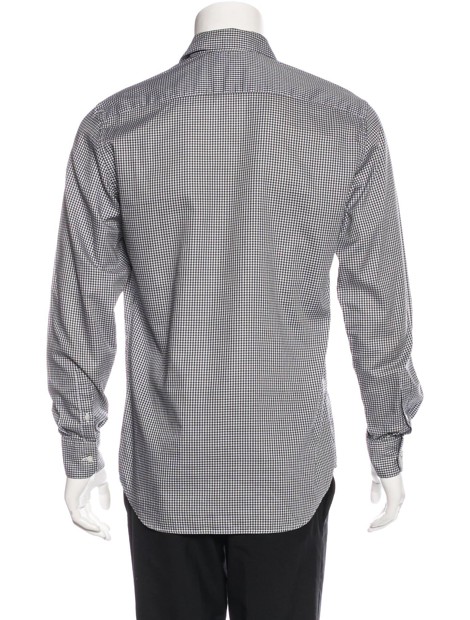 Prada gingham dress shirt clothing pra133592 the for Gingham dress shirt men