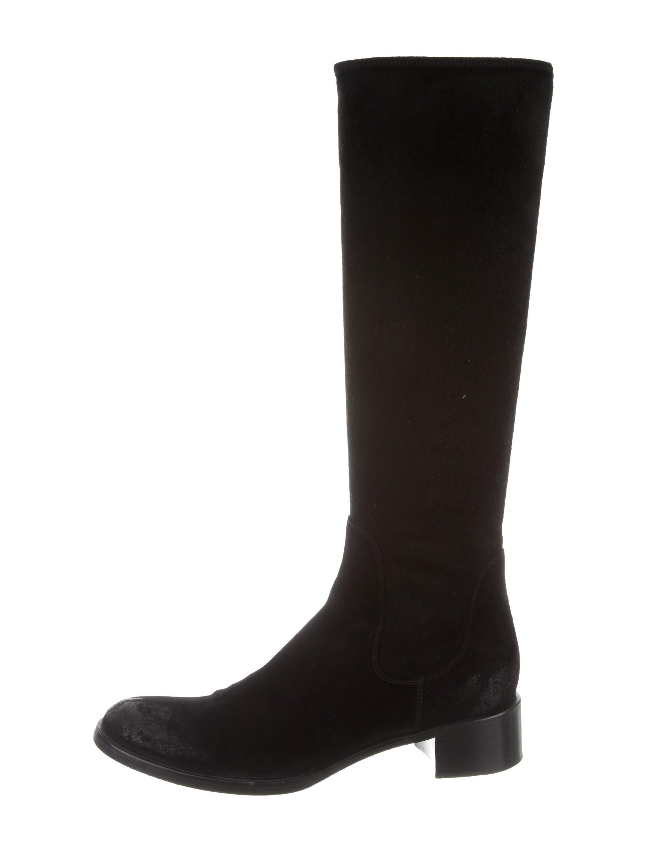 prada suede knee high boots shoes pra134073 the realreal