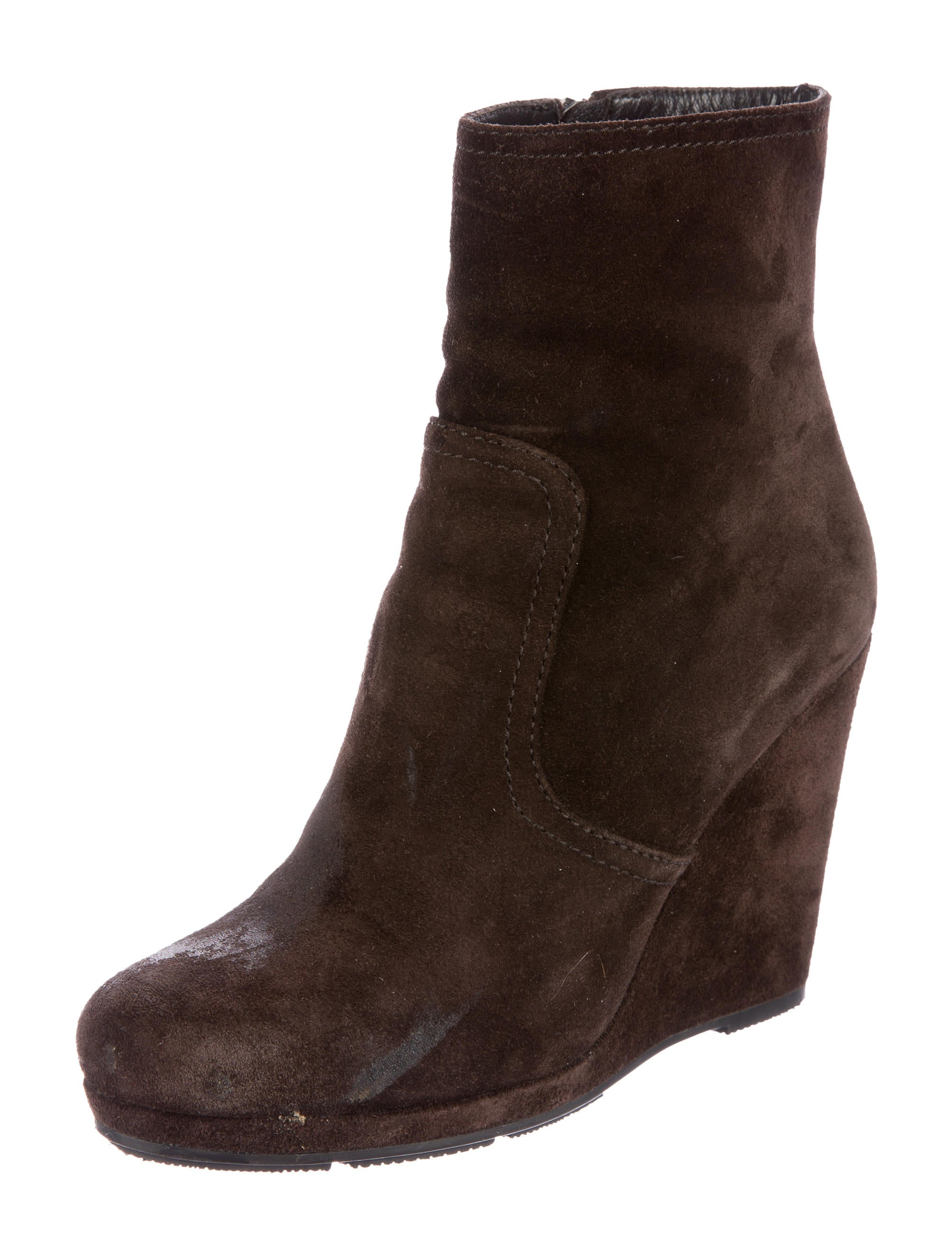 prada suede wedge ankle boots shoes pra134153 the
