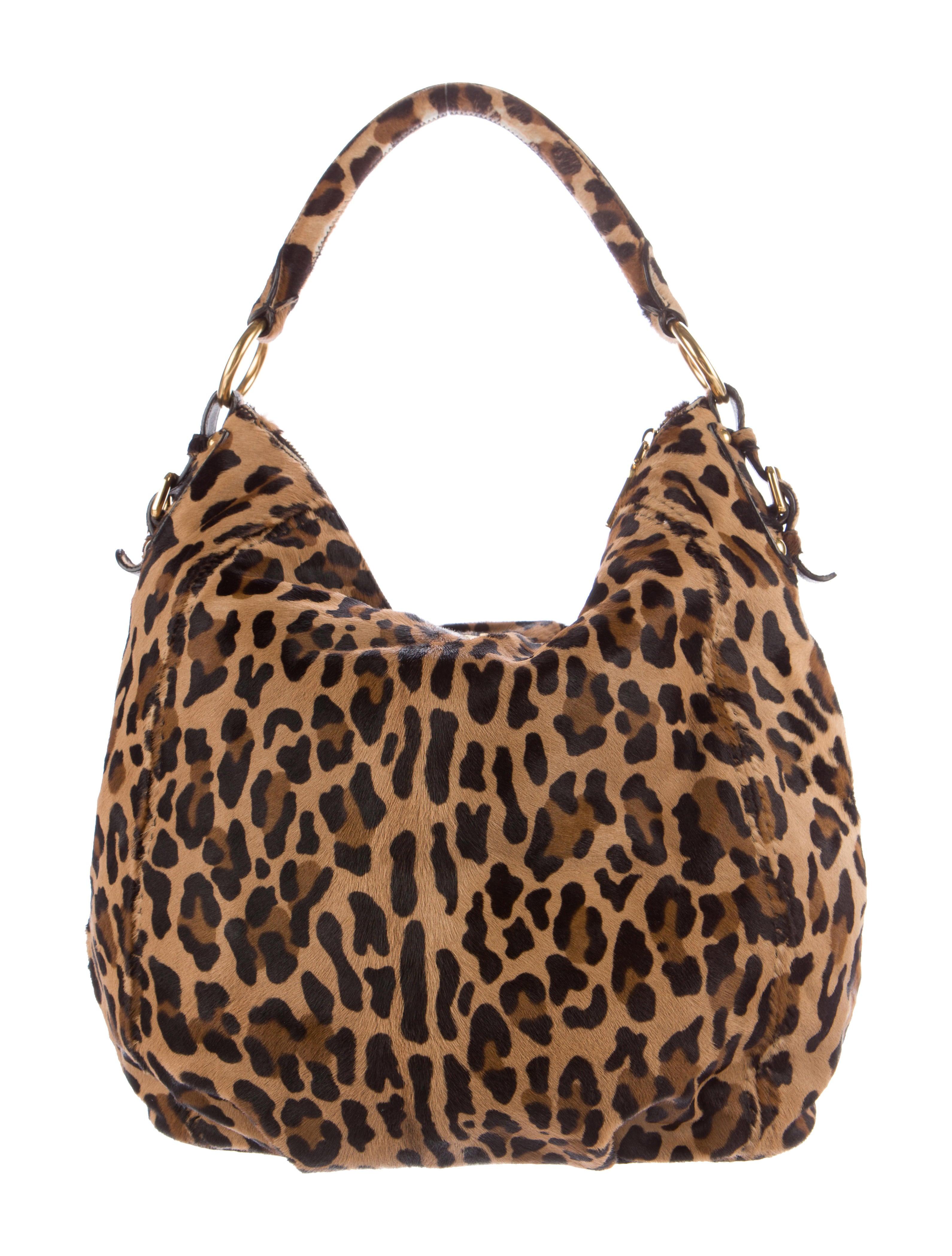 Prada Leopard Print Ponyhair Hobo Handbags Pra134299