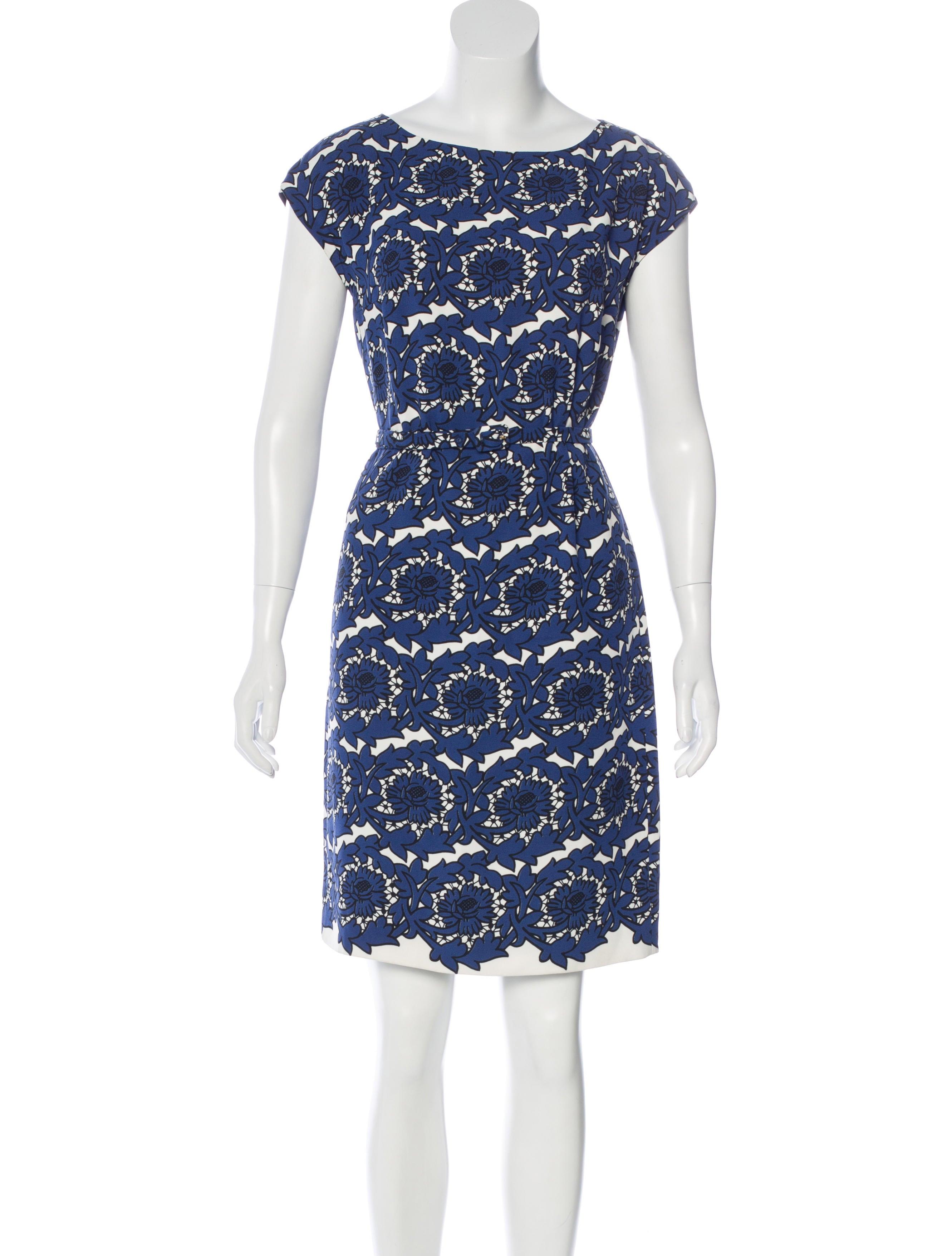 prada floral print belted dress clothing pra134476