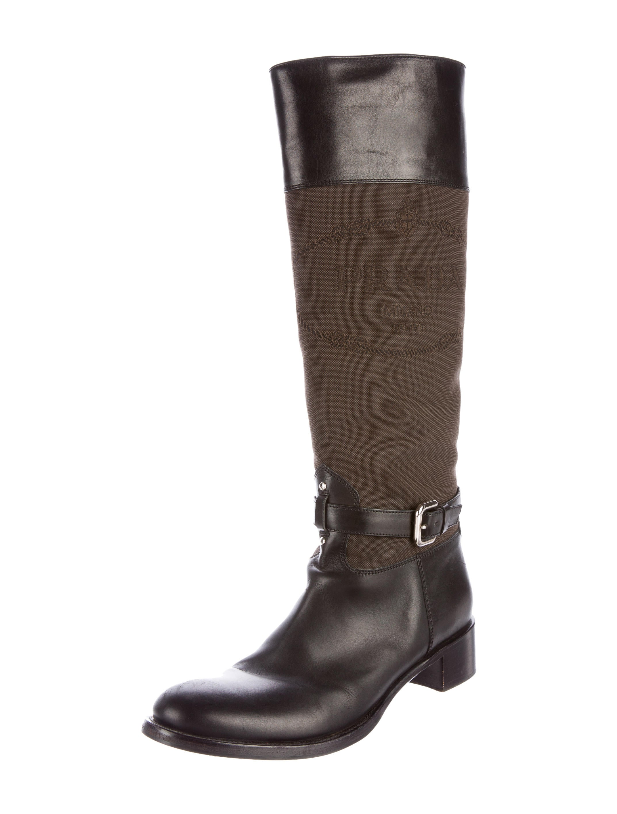 prada canvas knee high boots shoes pra134588 the
