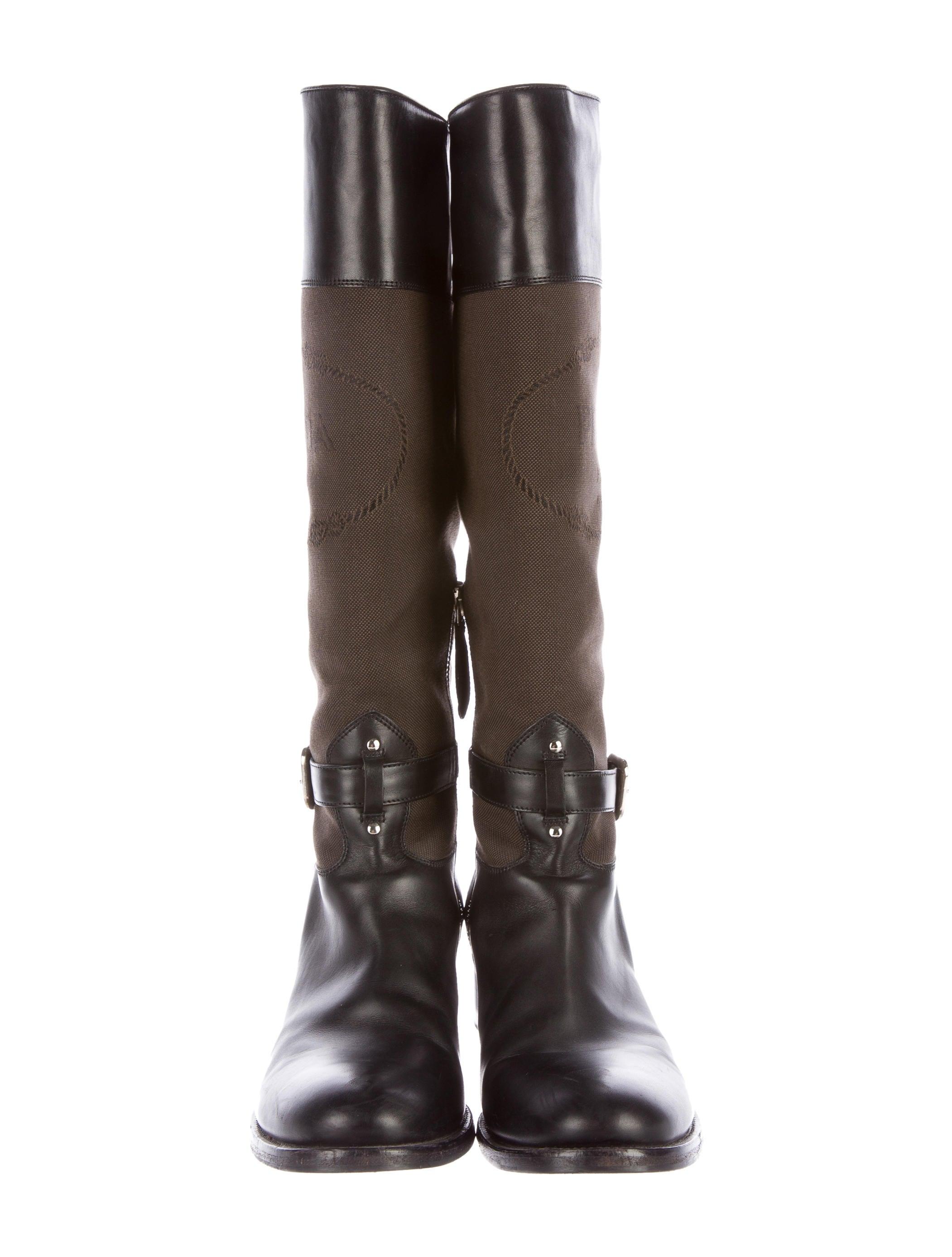 prada canvas knee high boots shoes pra134588 the