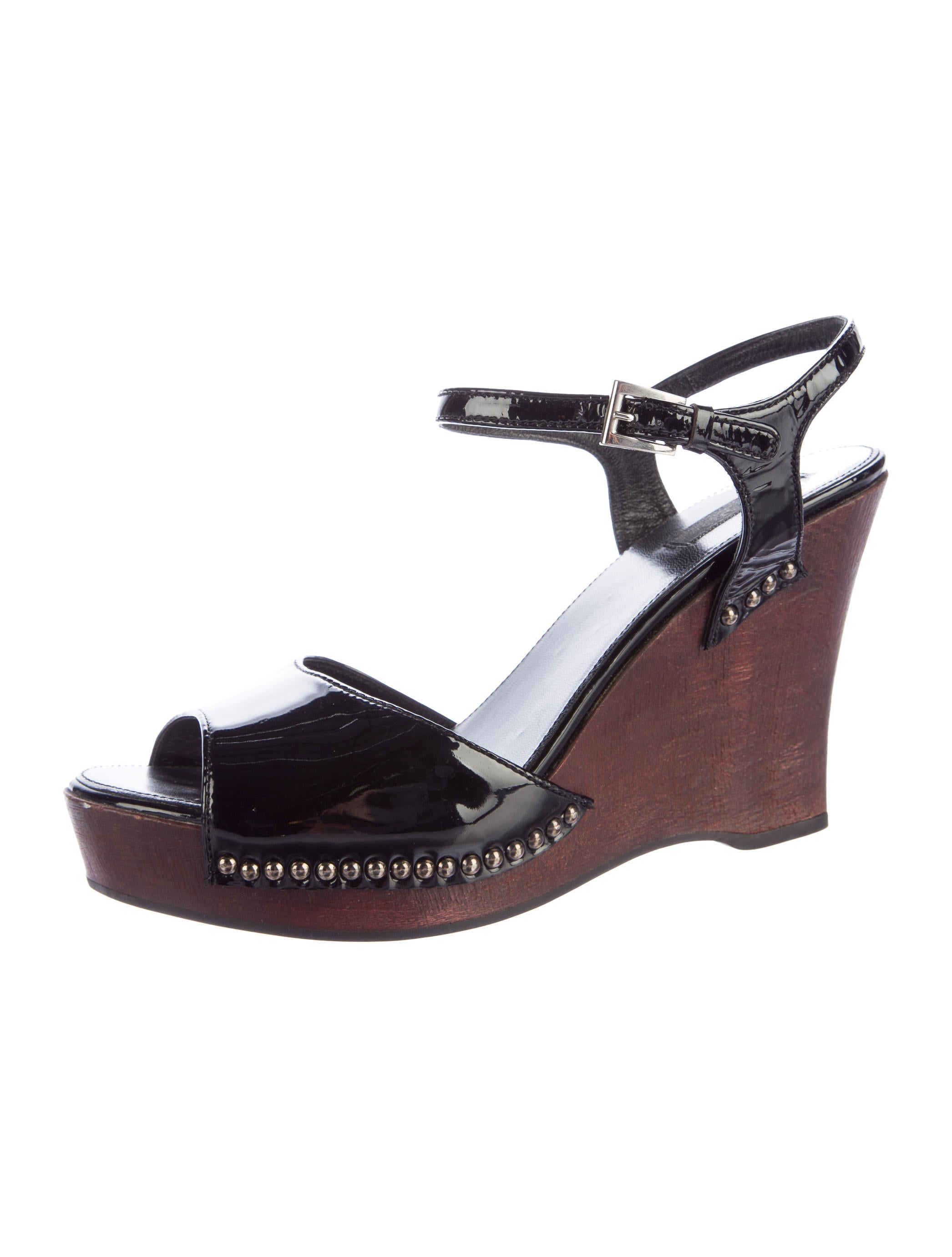 prada patent leather wedge sandals shoes pra135014