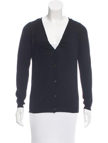 Prada Gathered Rib Knit Cardigan None