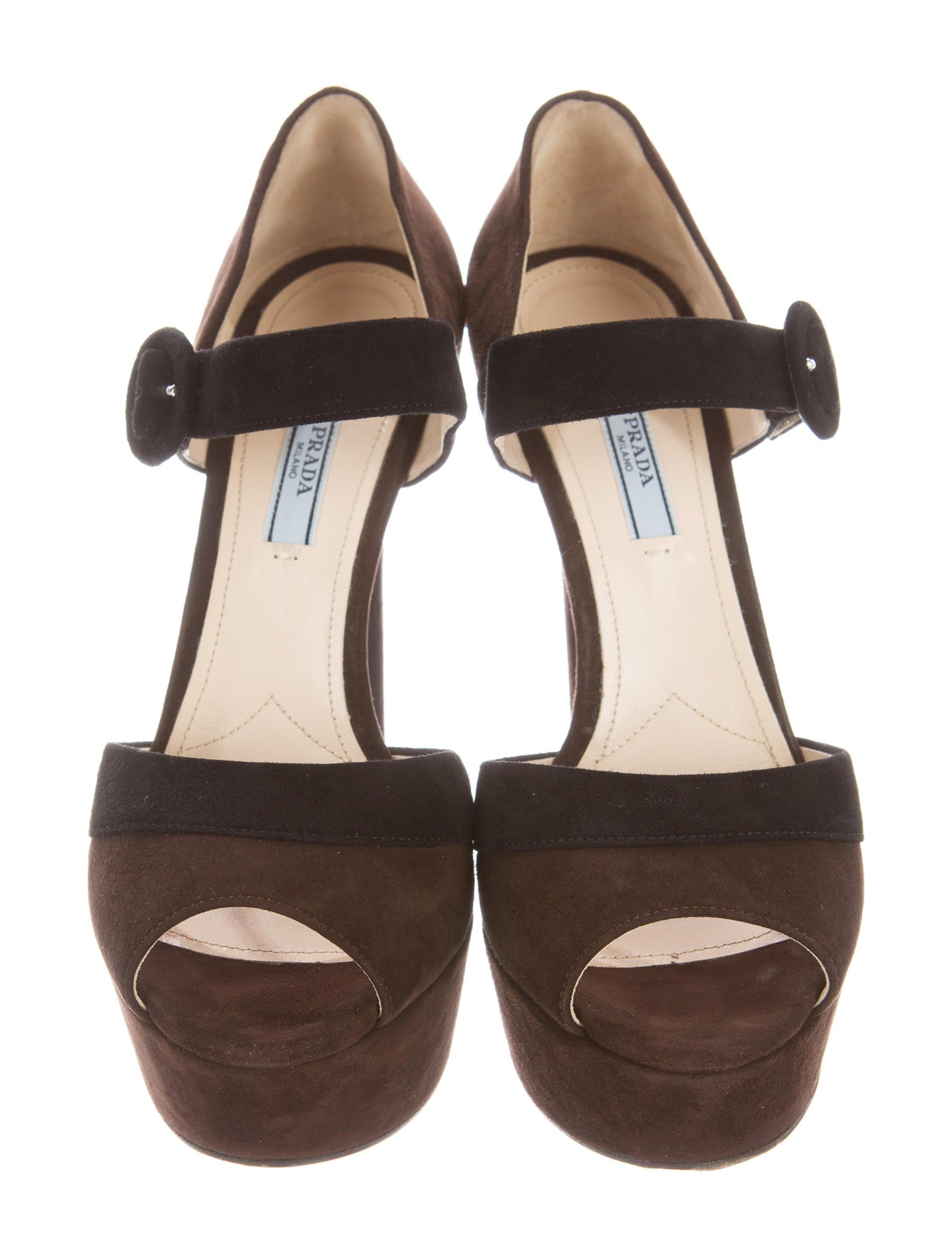 Prada Suede Platform Sandals - Shoes - PRA135040 | The
