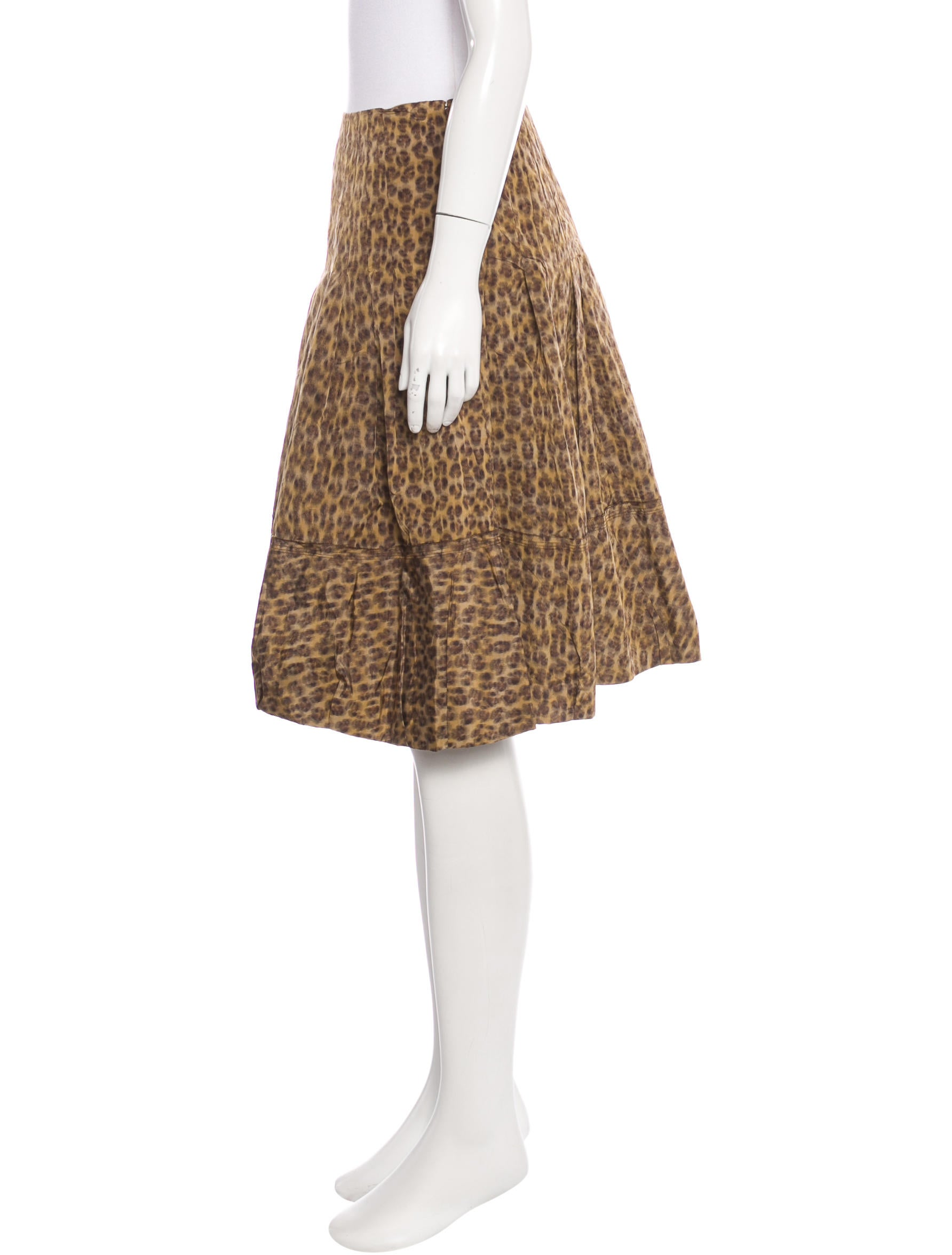 prada leopard print a line skirt clothing pra135137