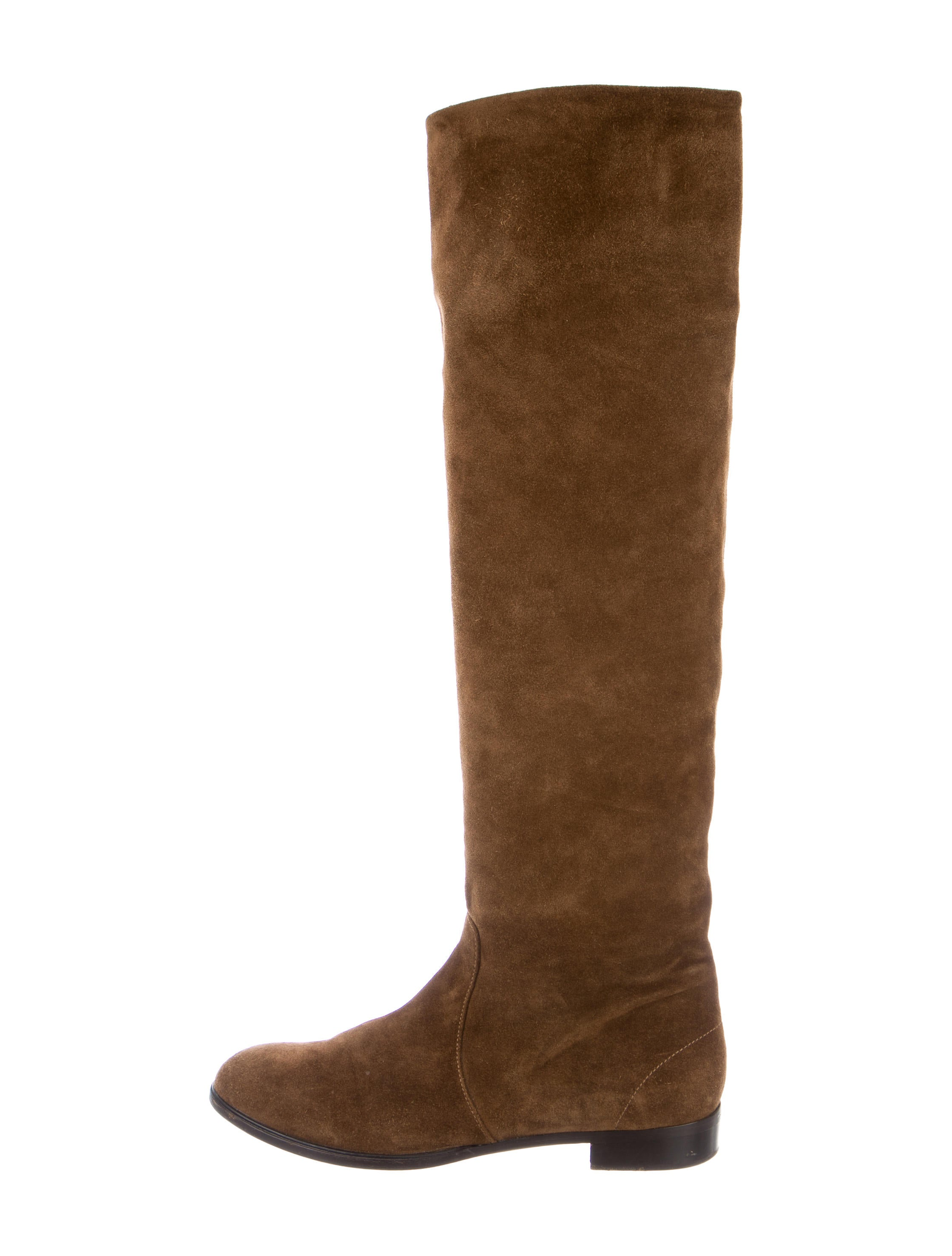 Prada Suede Knee High Boots Shoes PRA135513 The RealReal : PRA1355131enlarged from www.therealreal.com size 2239 x 2954 jpeg 321kB