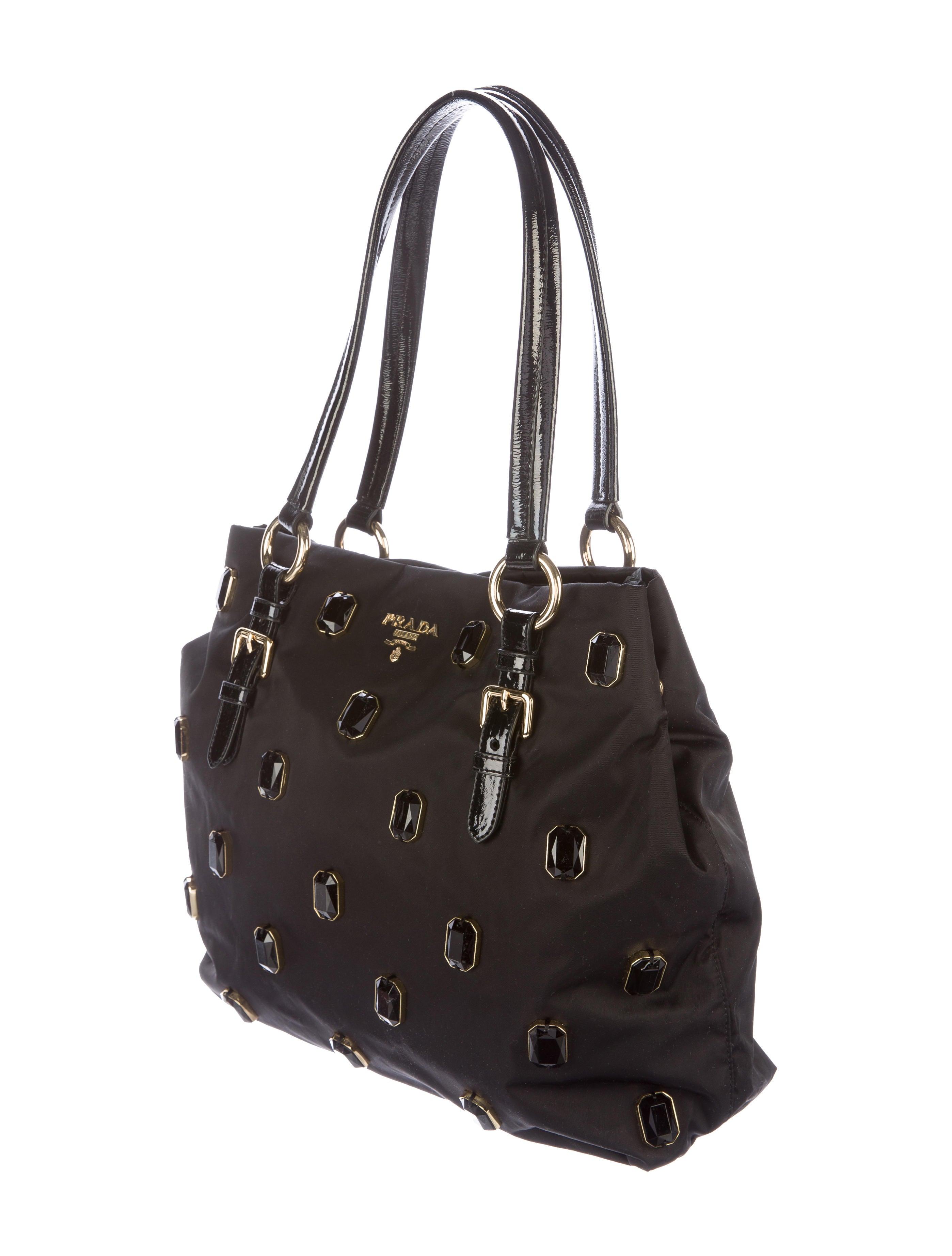 prada embellished tessuto tote handbags pra137417