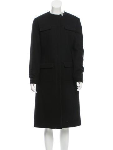 Prada Collarless Long Coat None