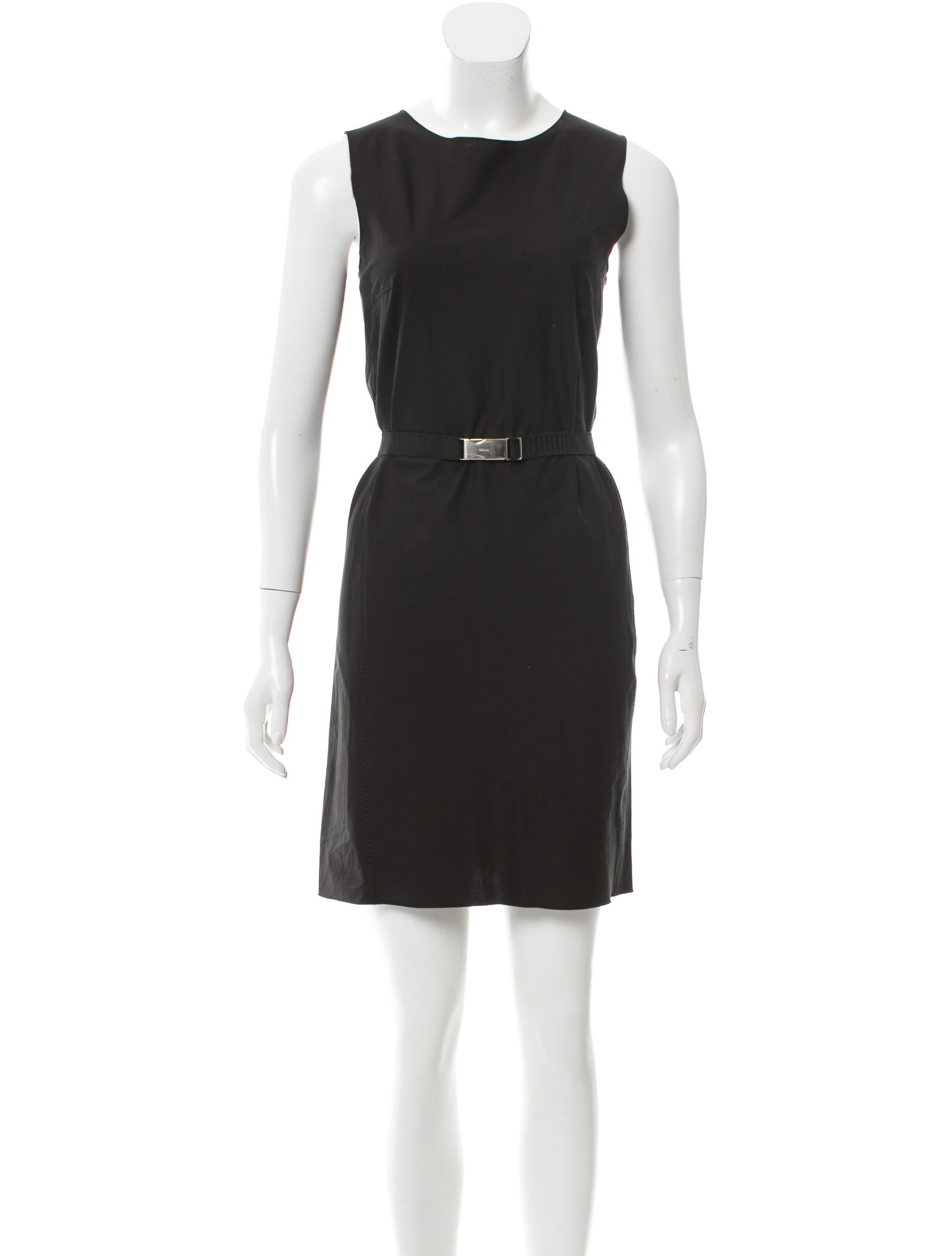 prada sleeveless belted dress clothing pra138903 the