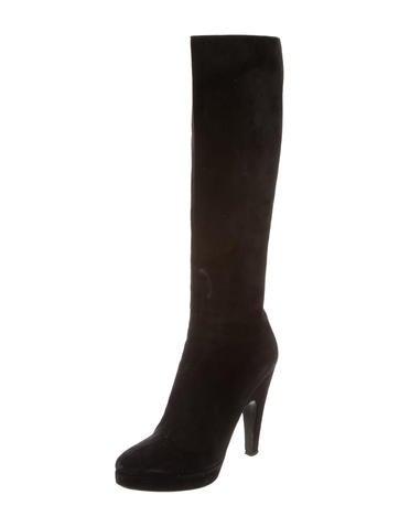prada suede platform knee high boots shoes pra139284