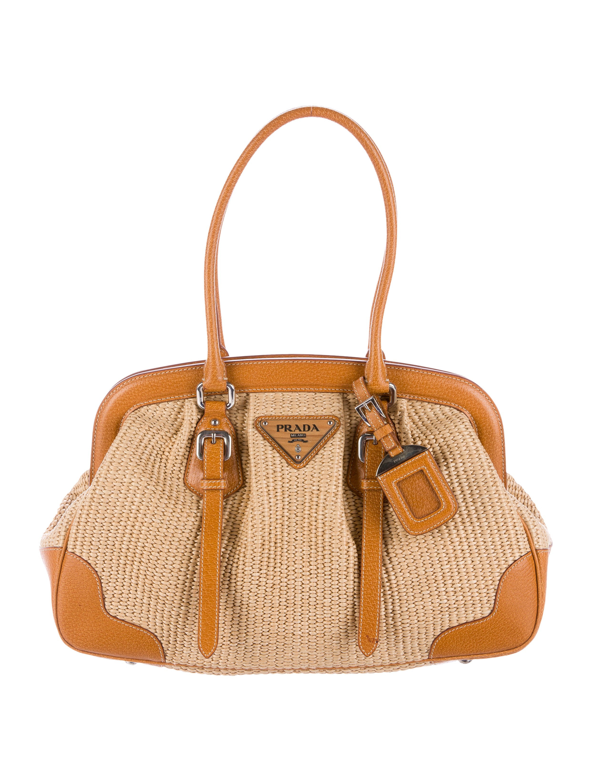 prada leather trimmed straw tote handbags pra139301