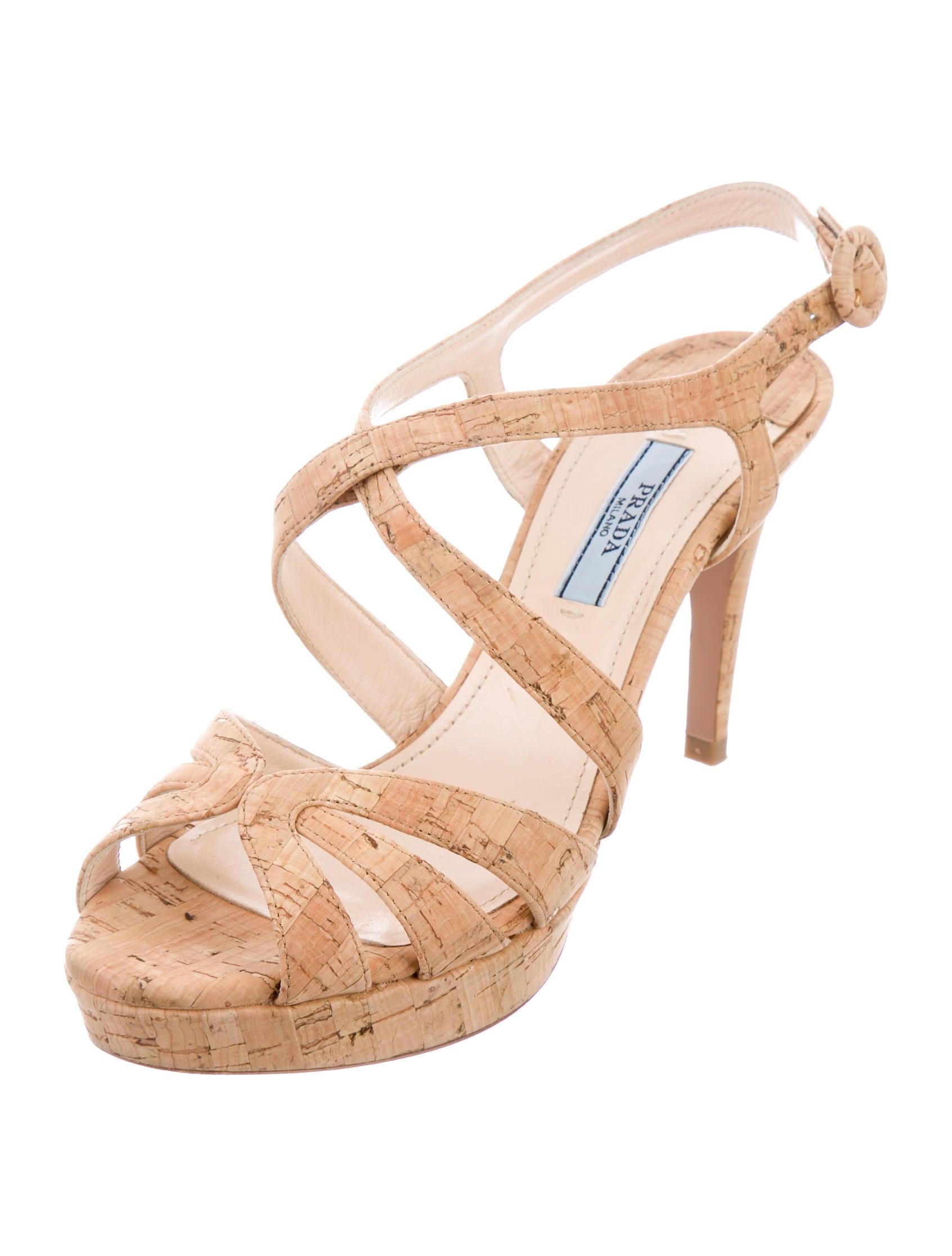 Prada Cork Platform Sandals Shoes Pra139344 The Realreal