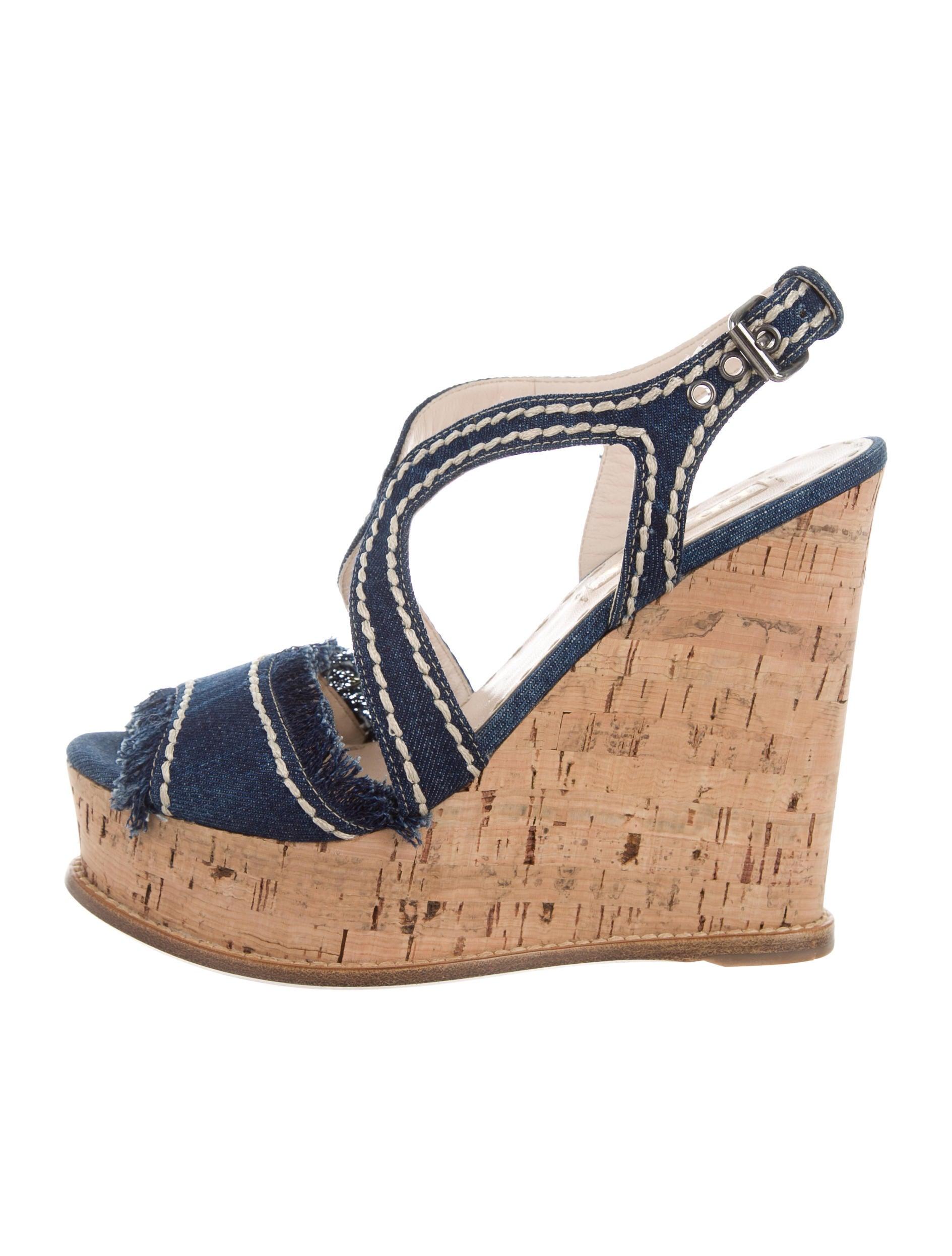prada denim wedge sandals shoes pra139694 the realreal