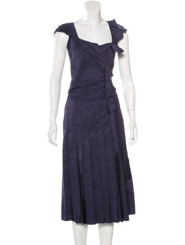 Prada Sleeveless Ruffle-Trimmed Dress None