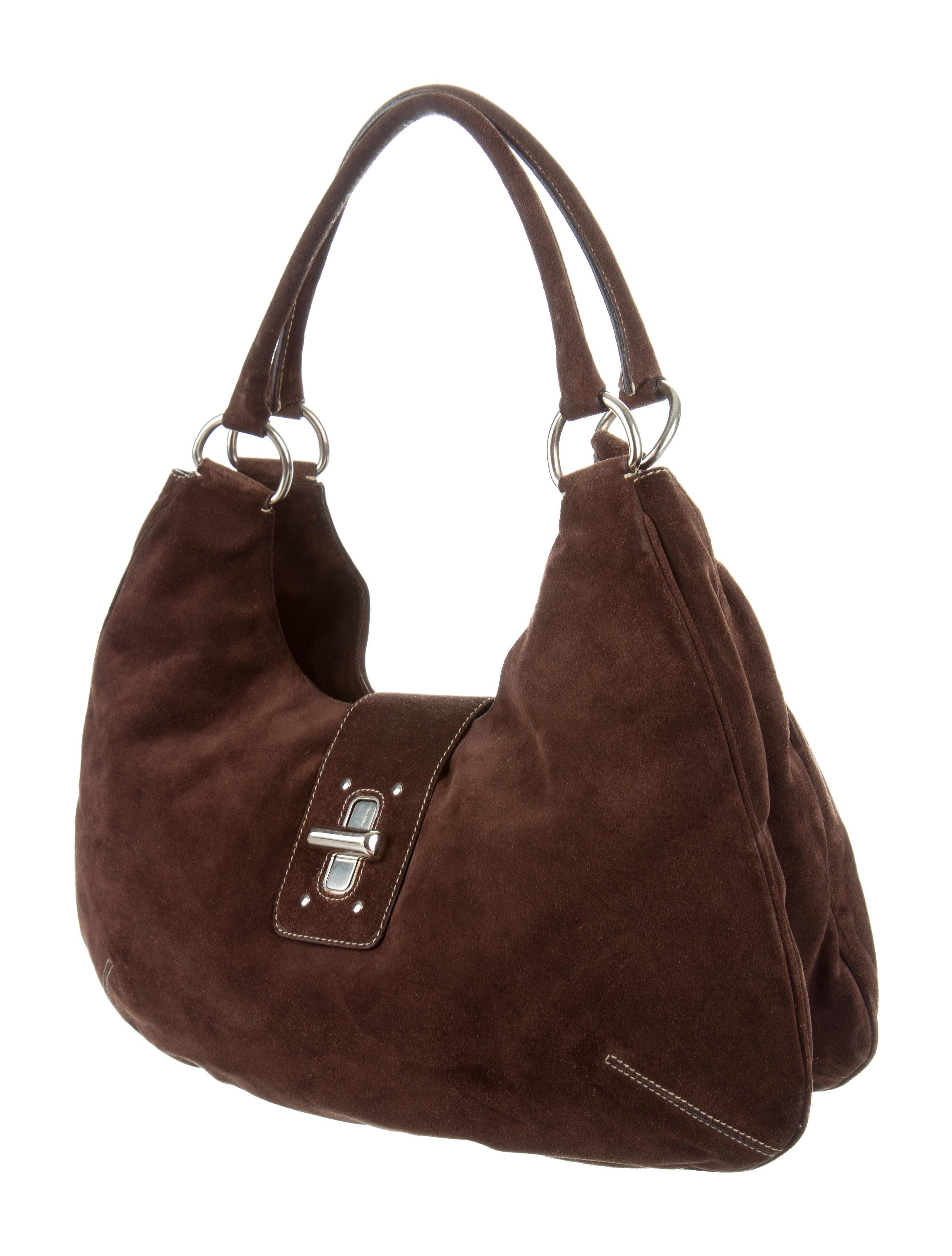 Prada Suede Shoulder Bag Handbags Pra139718 The Realreal