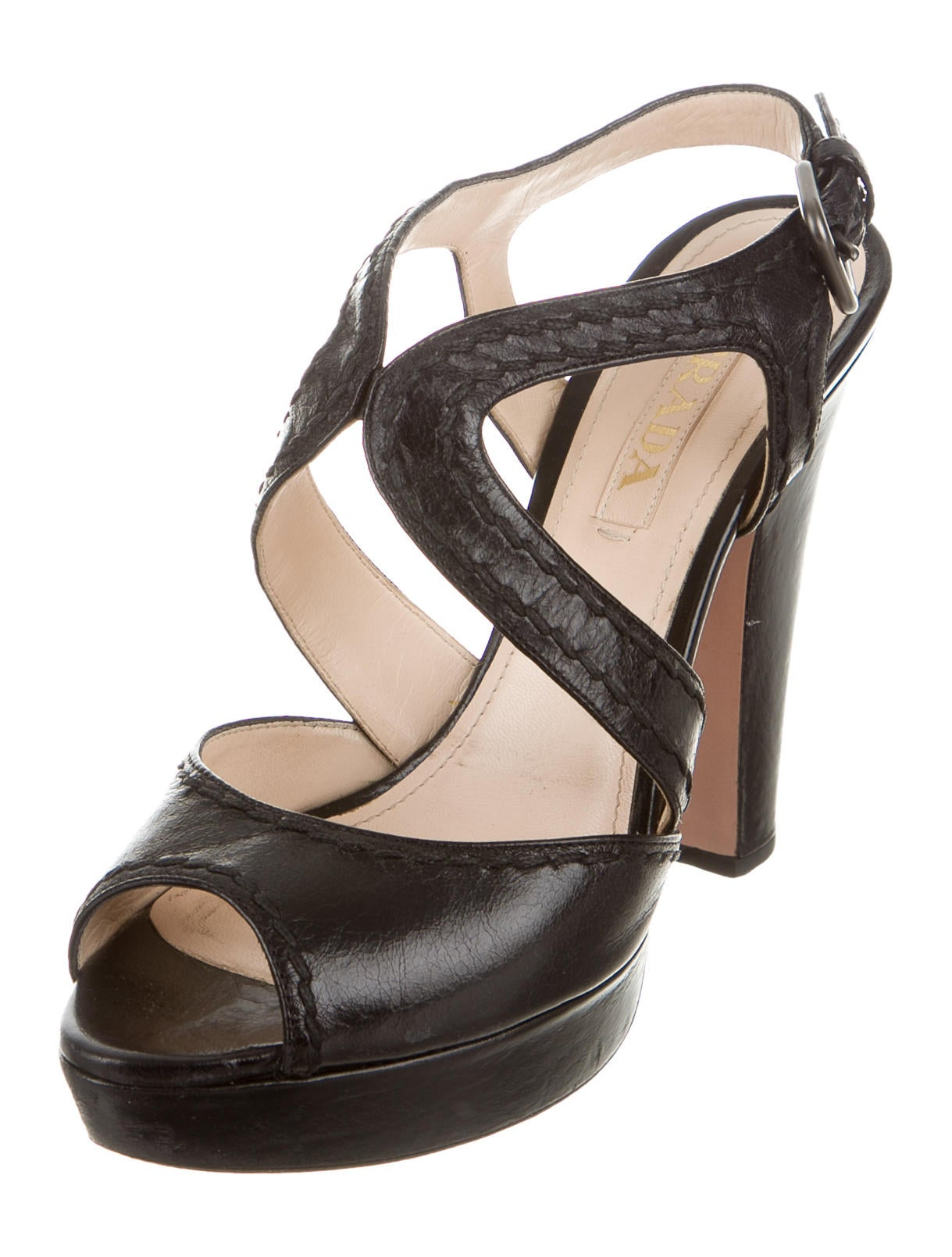 prada leather platform sandals shoes pra139816 the