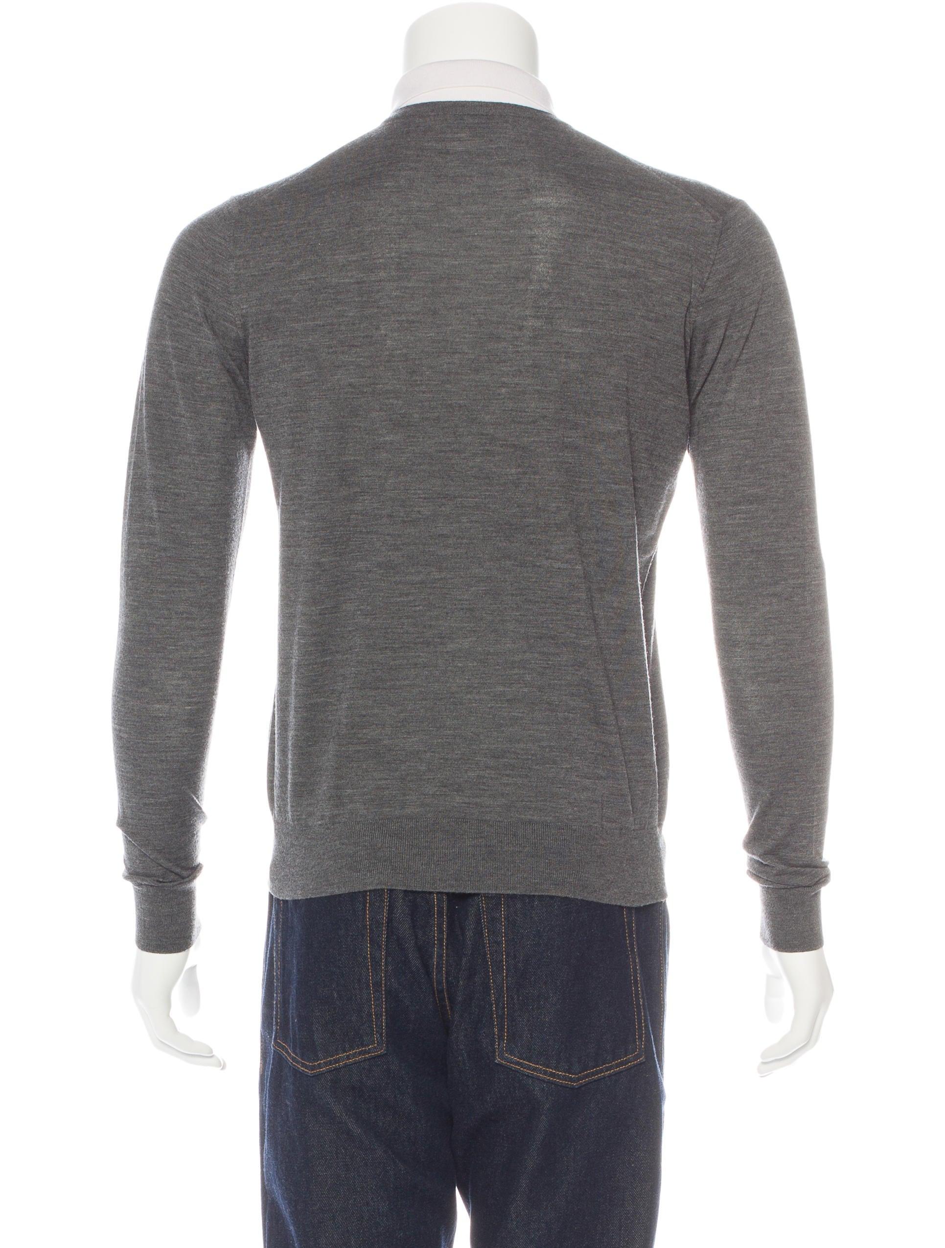 prada v neck polo sweater clothing pra140036 the realreal. Black Bedroom Furniture Sets. Home Design Ideas