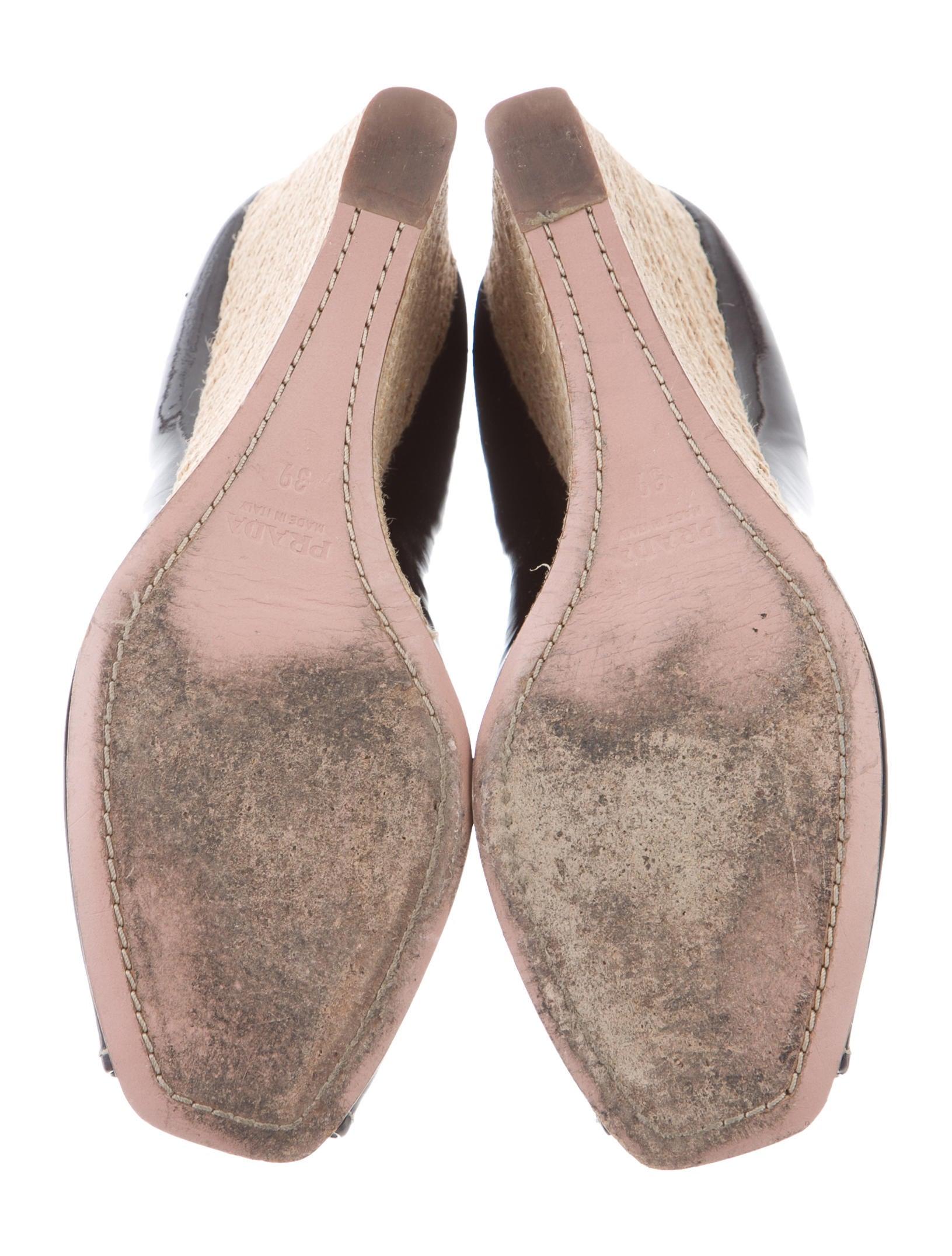 prada peep toe espadrille wedges shoes pra140273 the