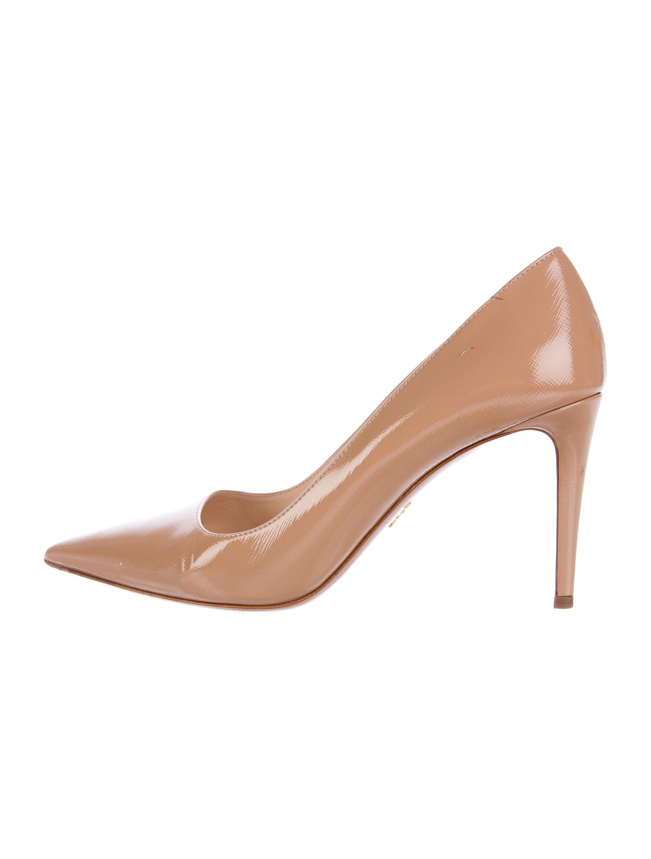 9327ca215cd0 Prada Saffiano Leather Pointed-Toe Pumps - Shoes - PRA140313