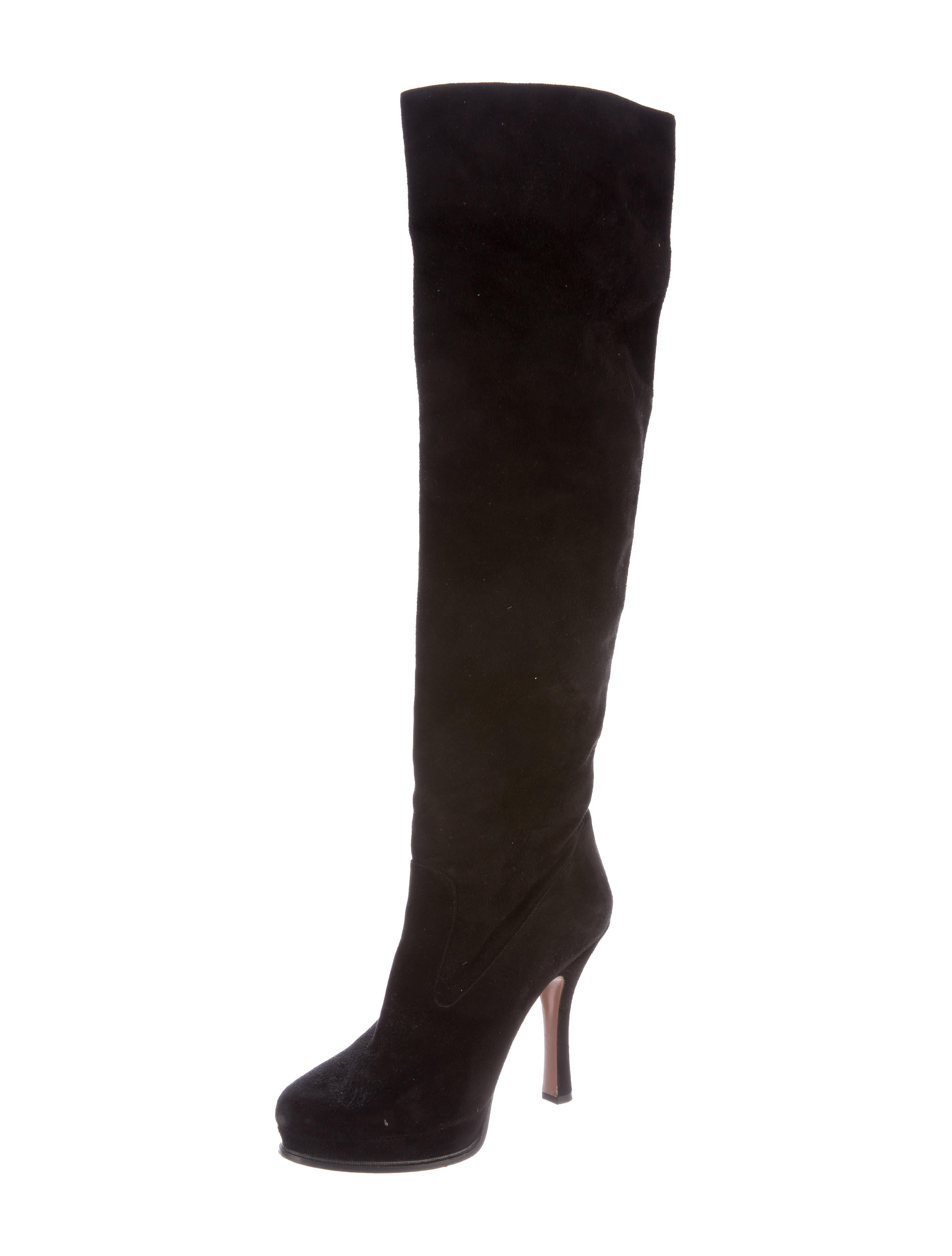 prada suede knee high boots shoes pra140417 the realreal