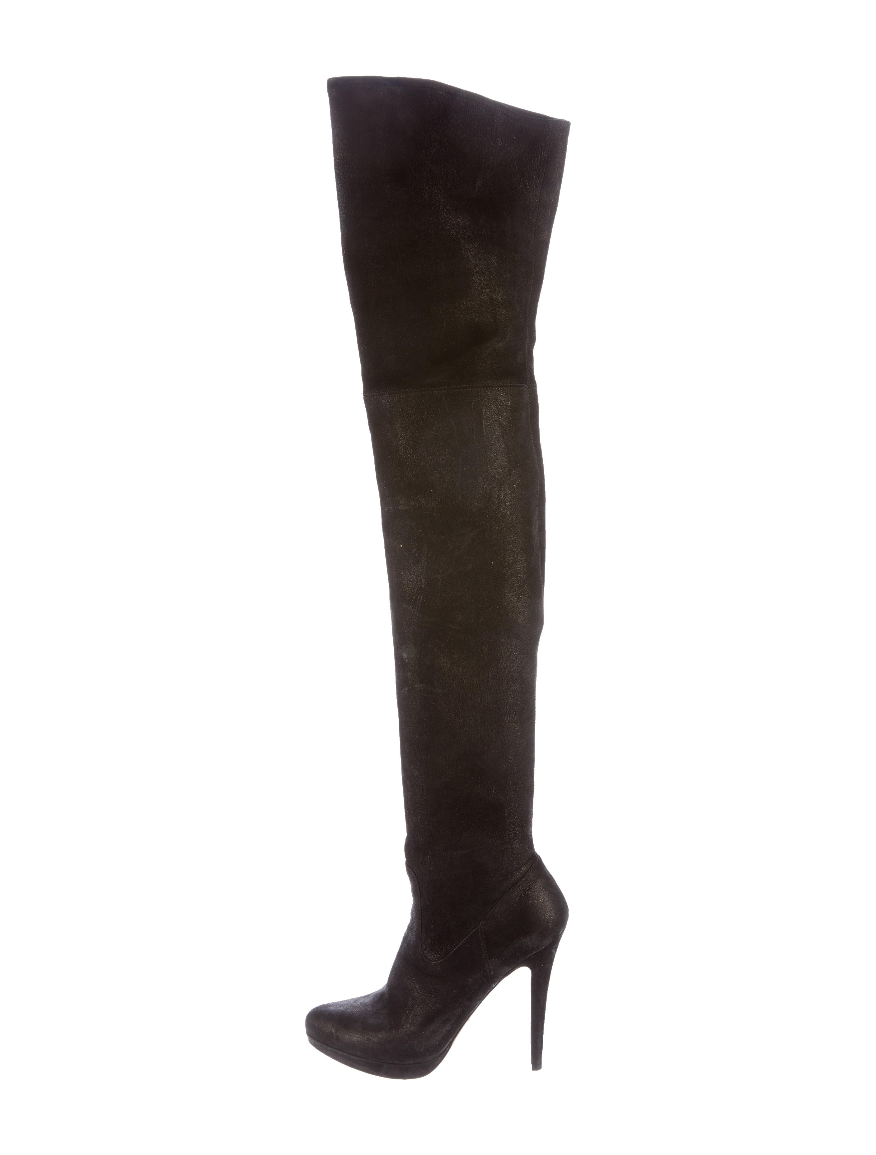 prada leather thigh high boots shoes pra140594 the