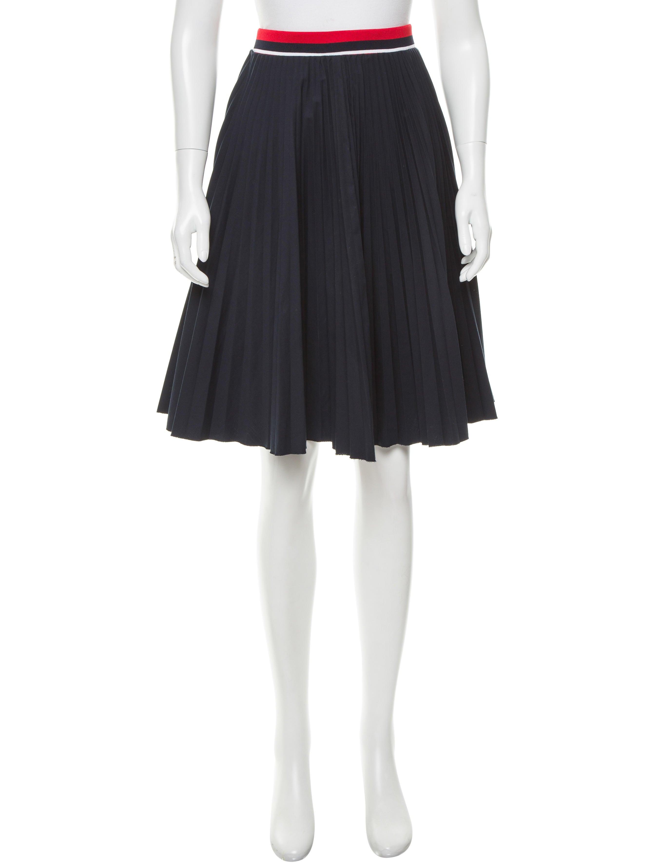 prada pleated stripe accented skirt clothing pra140644