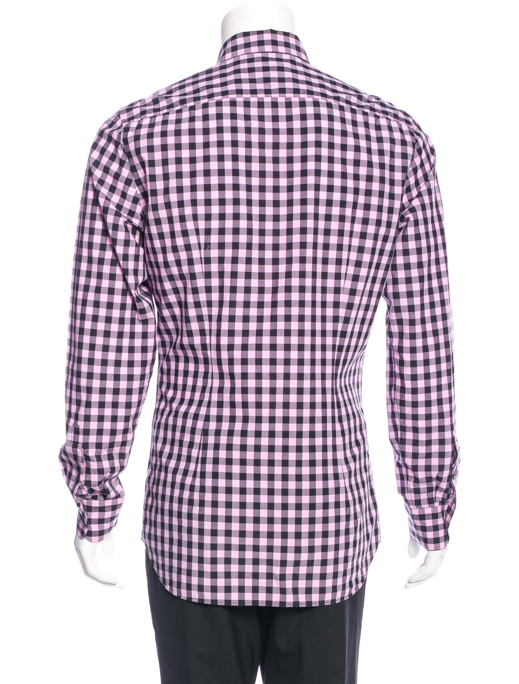 Prada gingham dress shirt clothing pra140887 the for Men s red gingham dress shirt