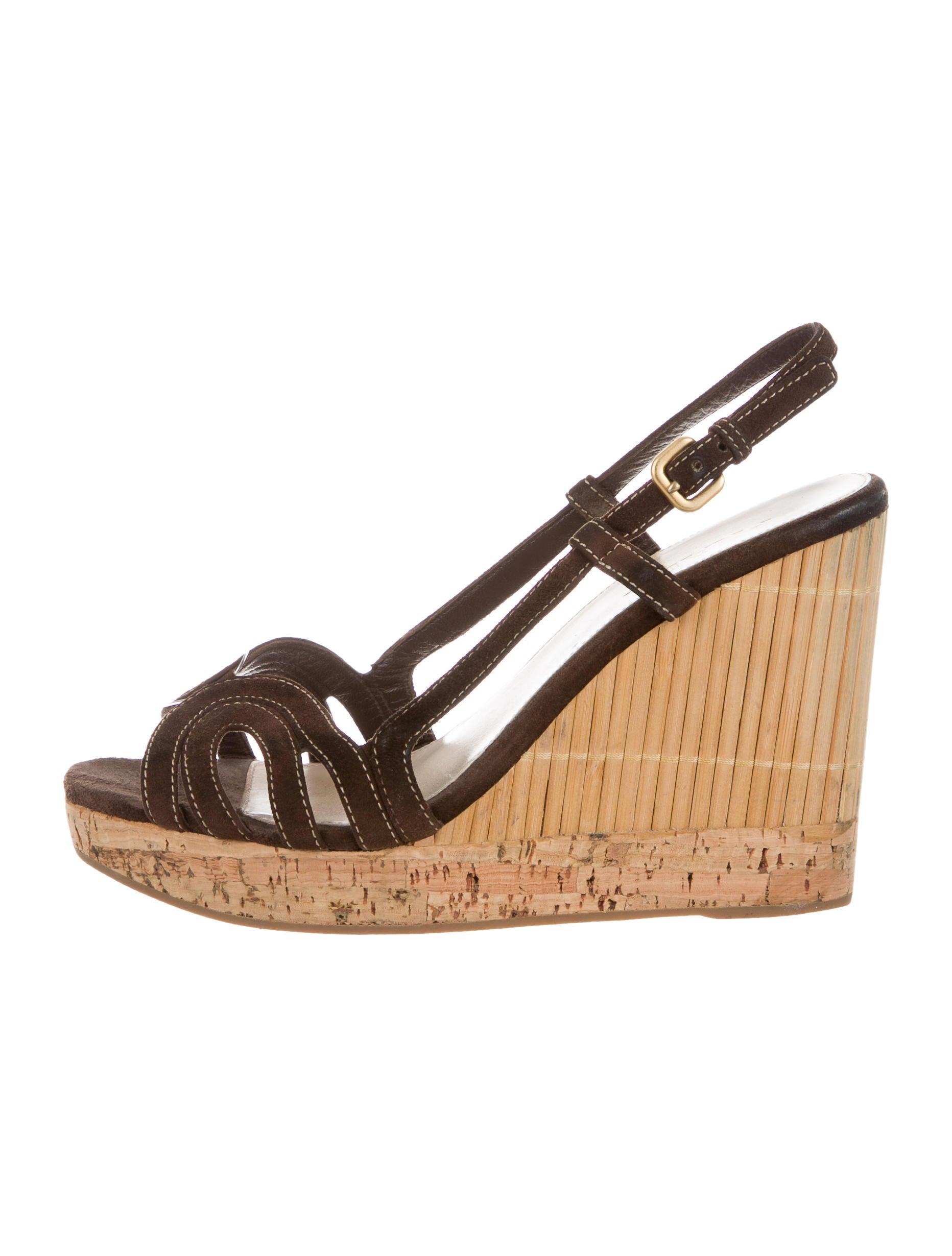 prada suede platform wedges shoes pra141045 the realreal