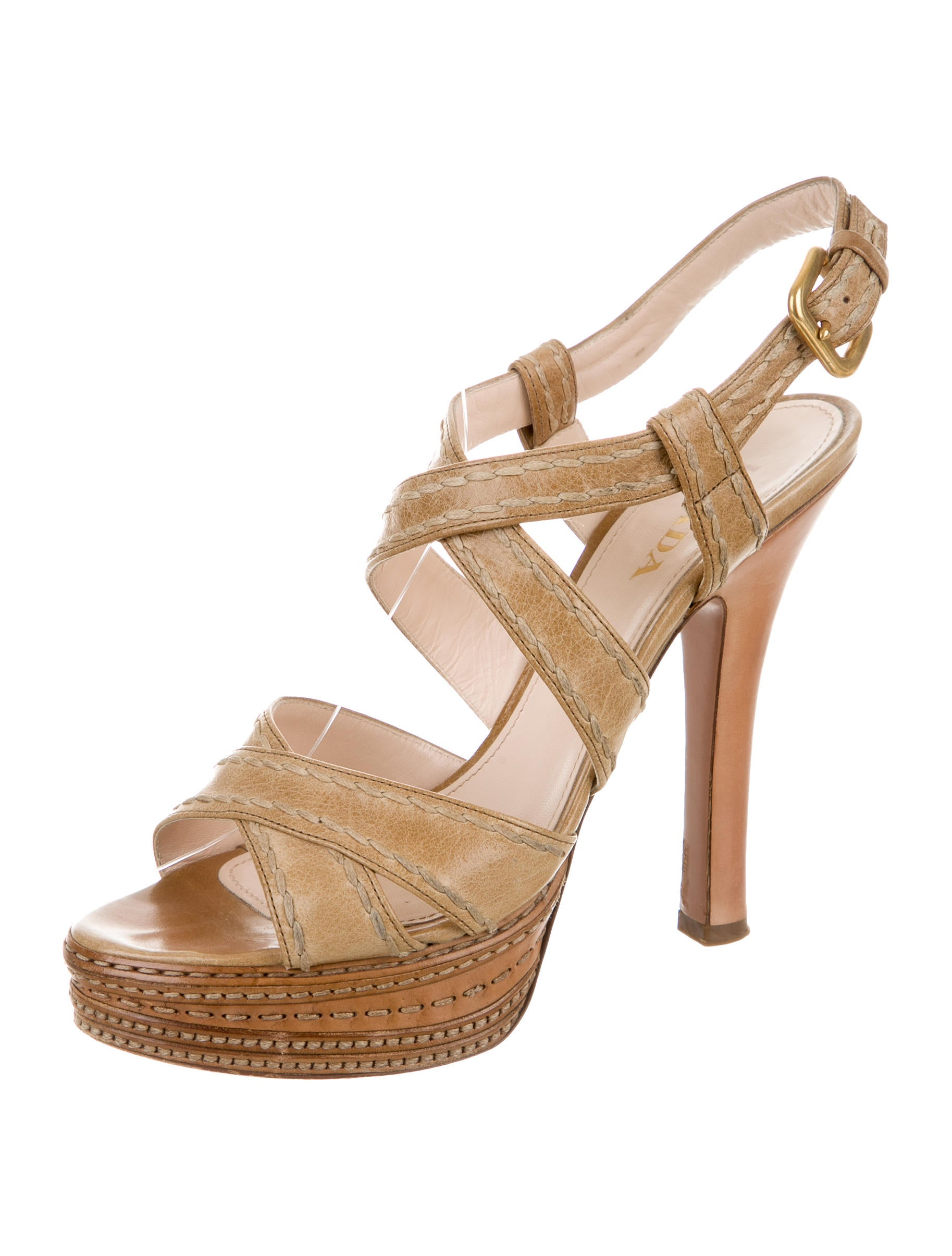 prada platform leather sandals shoes pra141049 the