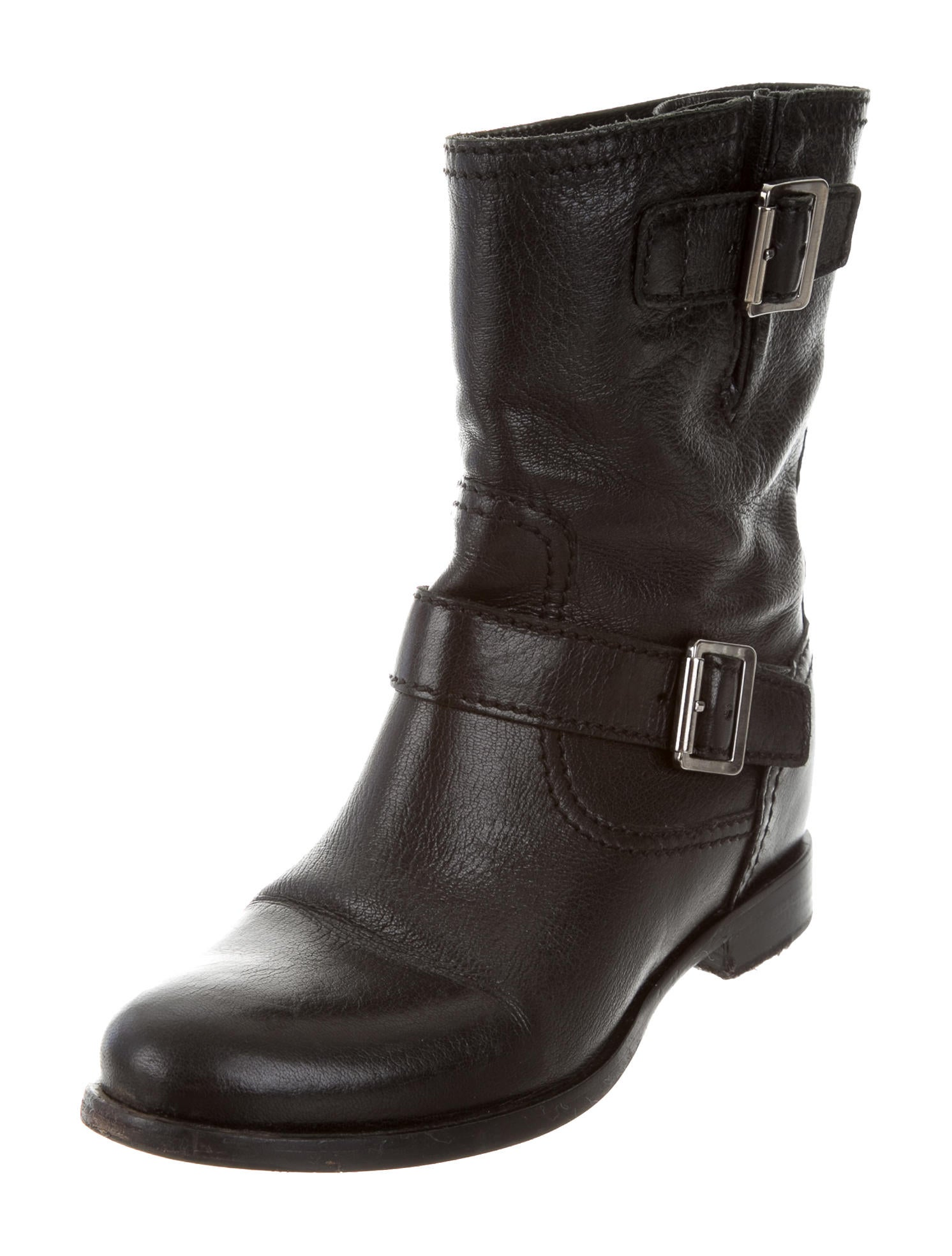 Prada Leather Biker Boots - Shoes - PRA141163 | The RealReal