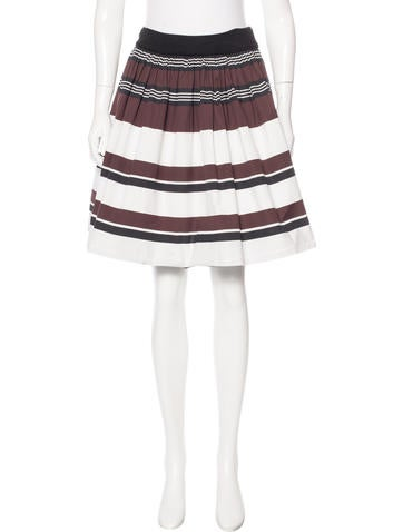 Prada Stripe Pleated Skirt None