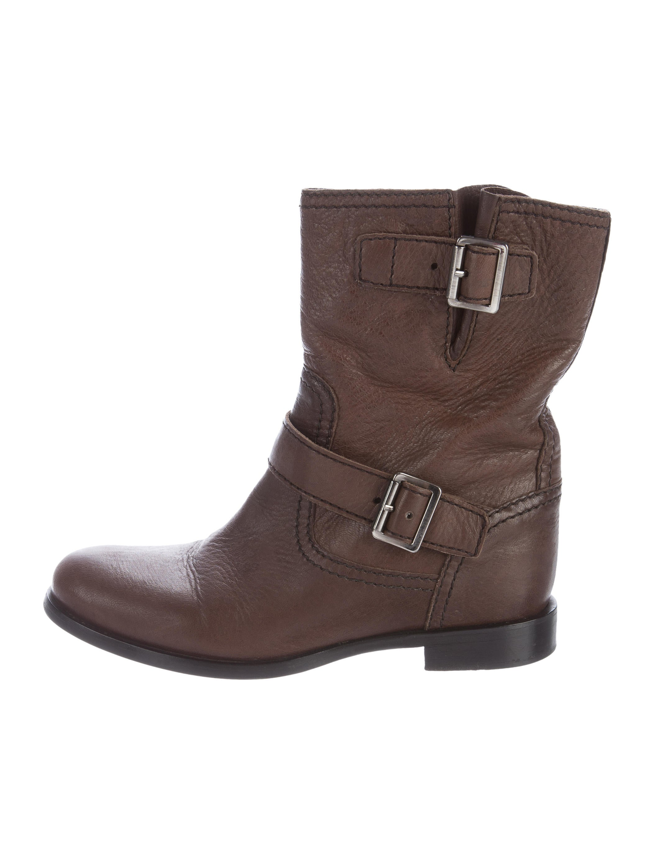 prada leather moto boots shoes pra142090 the realreal