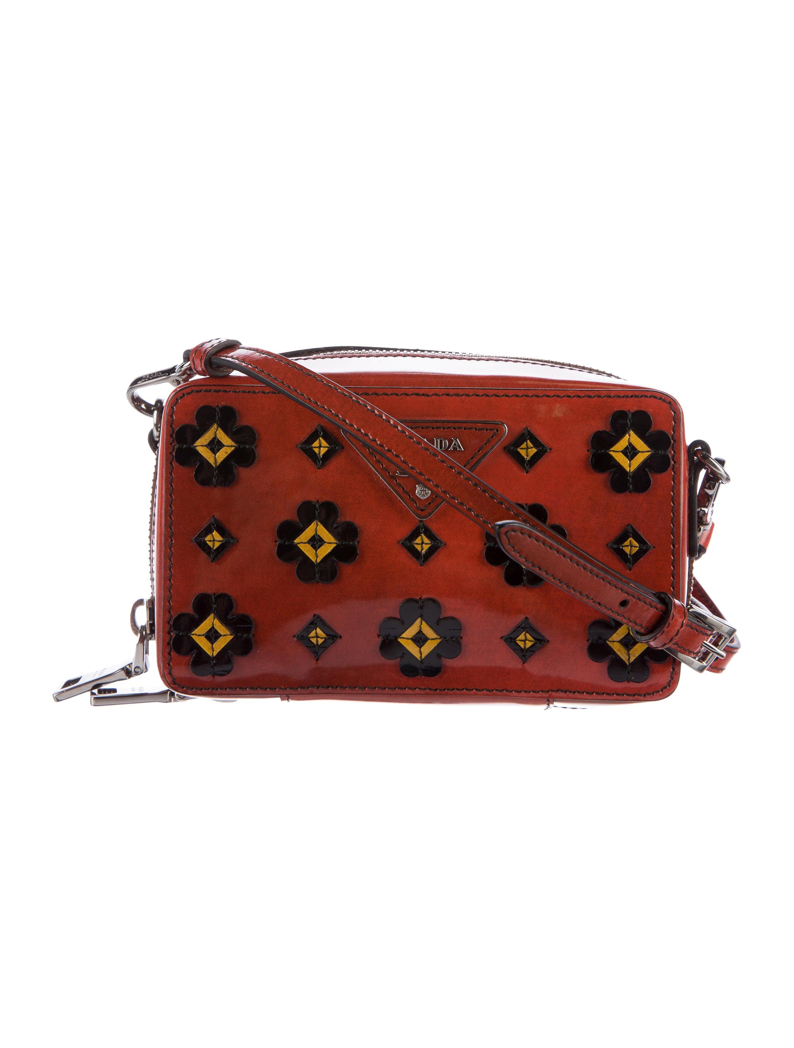 Prada Patent Leather Floral Crossbody Bag - Handbags - PRA142792 | The RealReal