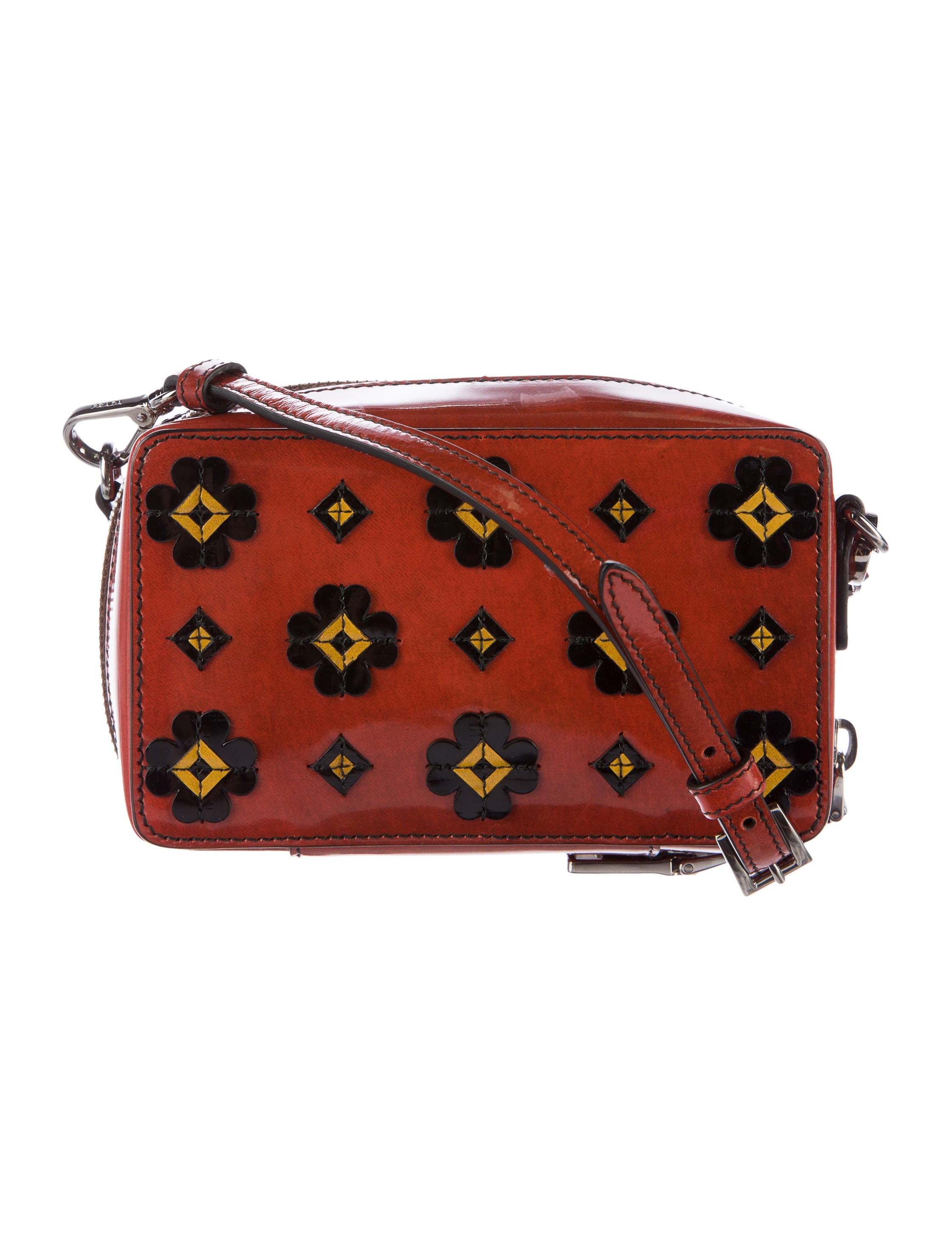 Prada Patent Leather Floral Crossbody Bag - Handbags - PRA142792   The RealReal
