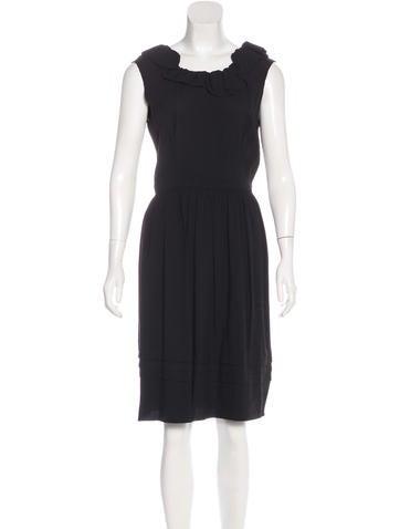 Prada Ruffle-Trimmed Pleated Dress None