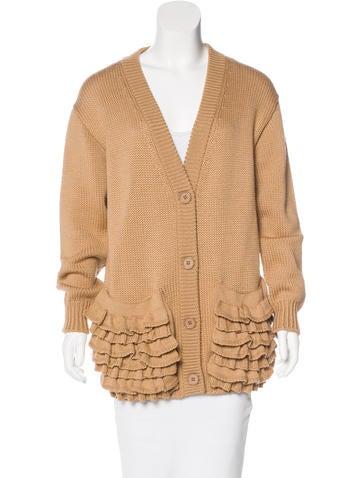 Prada Virgin Wool Ruffle-Trimmed Cardigan None