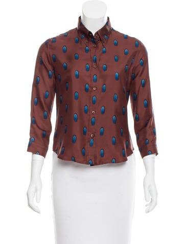 Prada Silk Button-Up Top None
