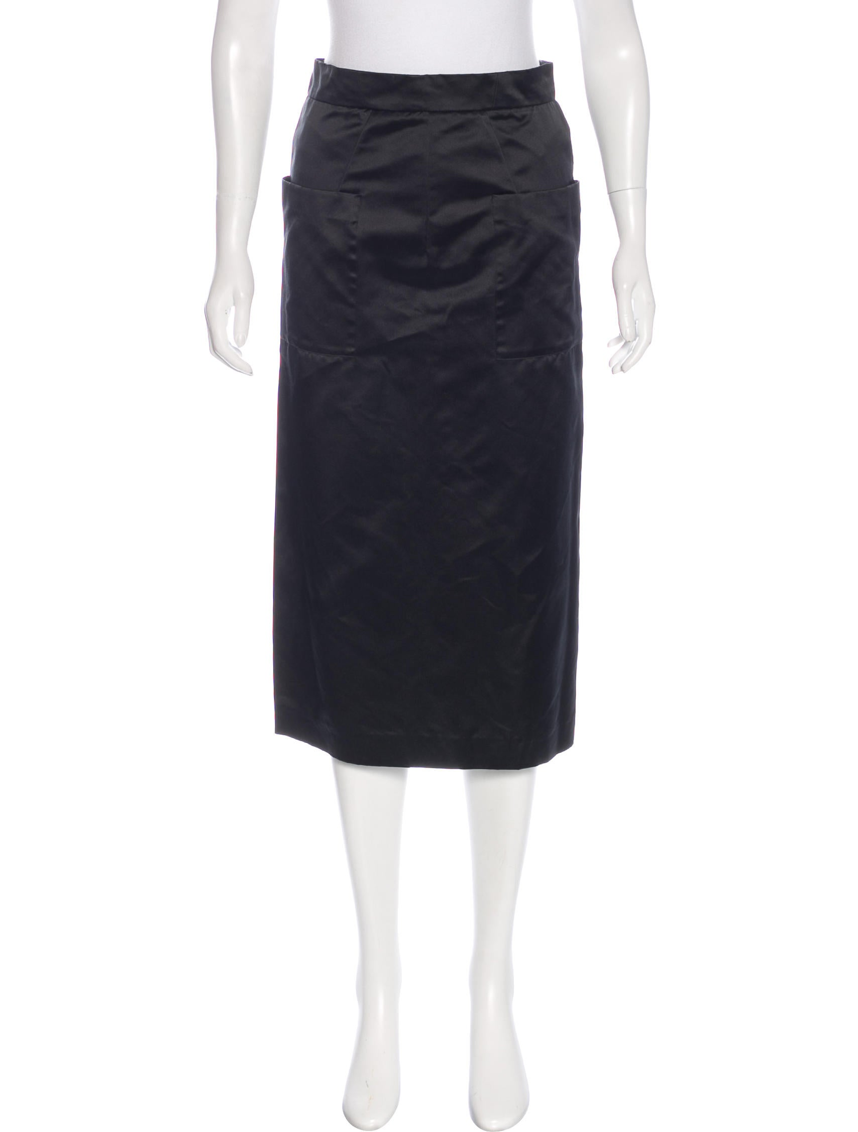 prada satin pencil skirt clothing pra143138 the realreal