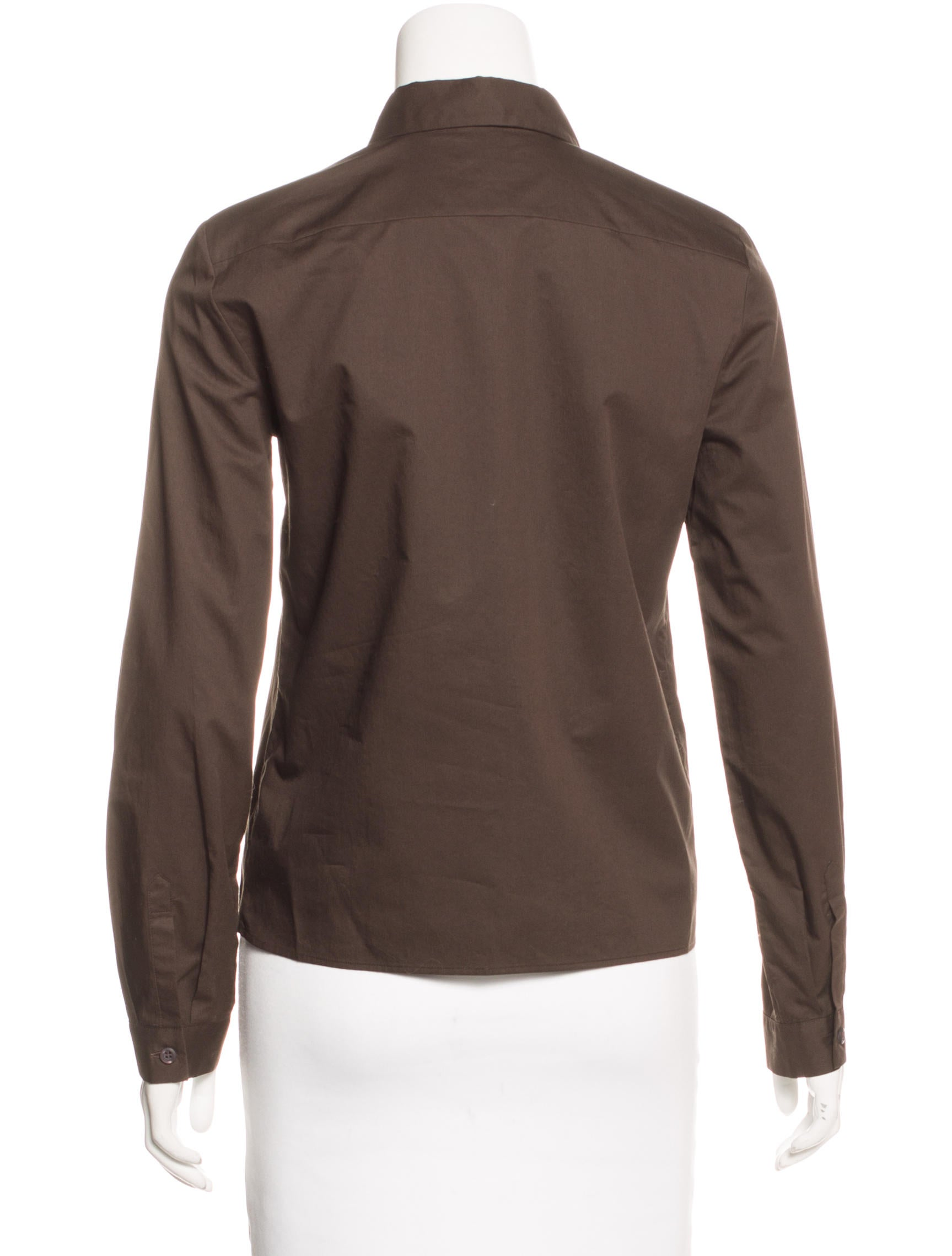 Prada Fitted Button Up Top Clothing Pra143394 The