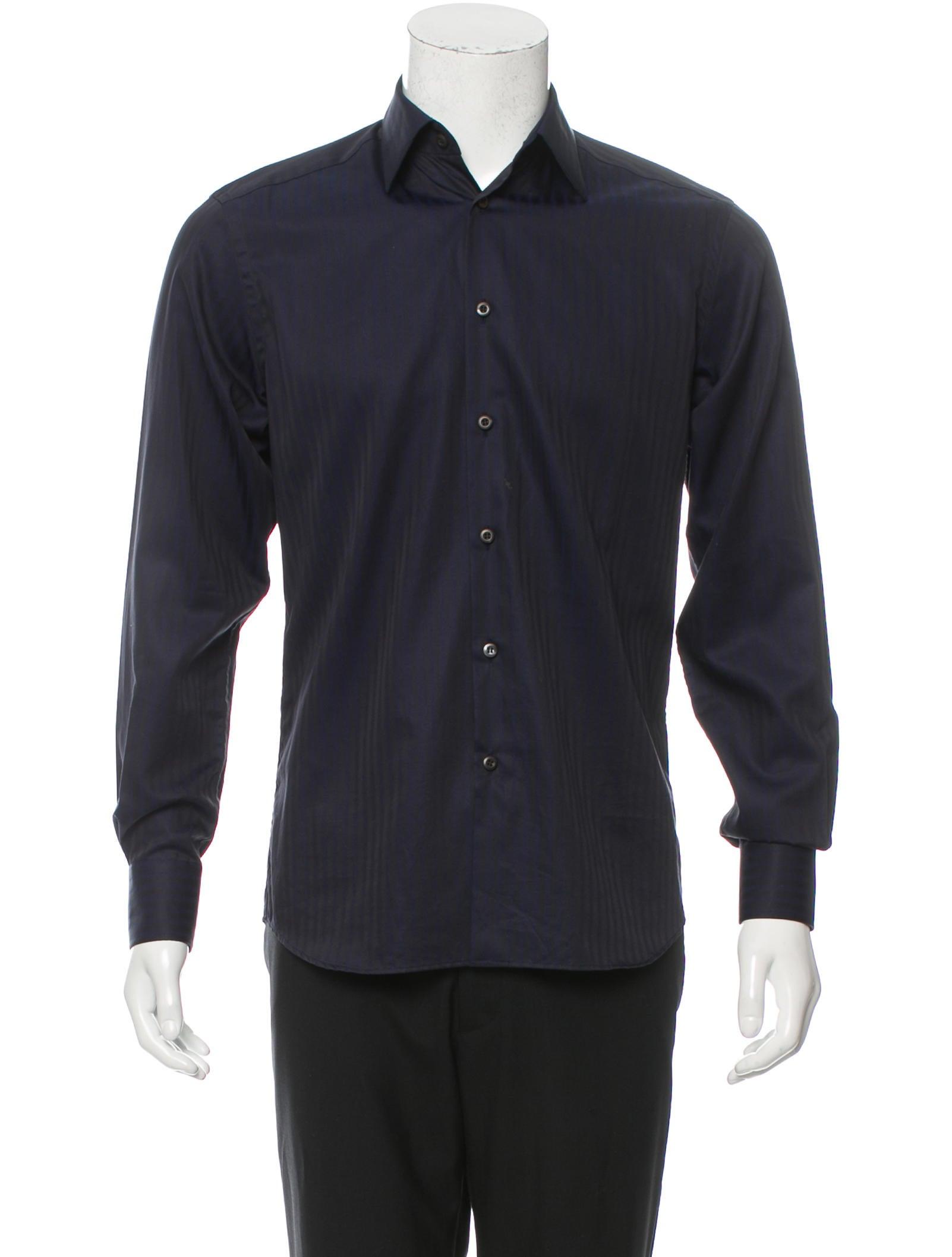 Prada striped button up shirt clothing pra143467 the for Striped button up shirt mens