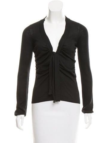 Prada Knit Sash-Tie-Accented Top None