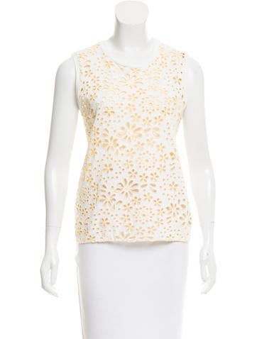Prada Sleeveless Eyelet Top None