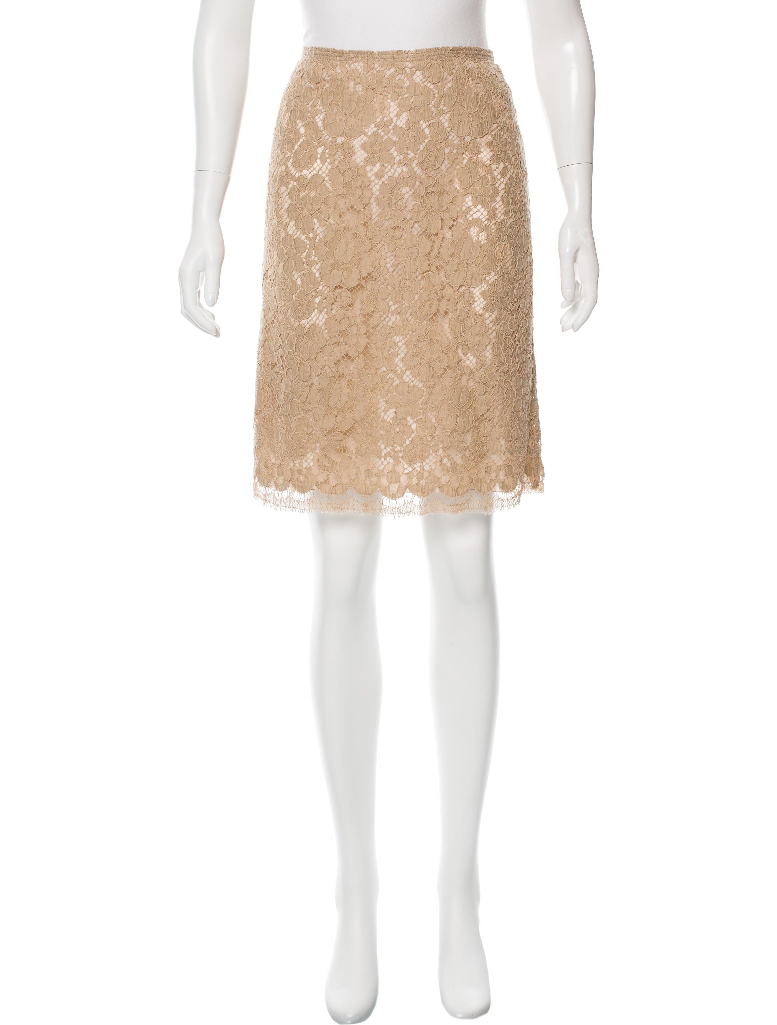 prada lace knee length skirt clothing pra144406 the