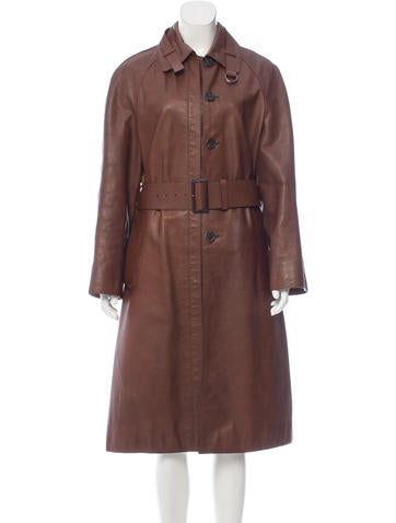 prada belt accented leather coat clothing pra144976