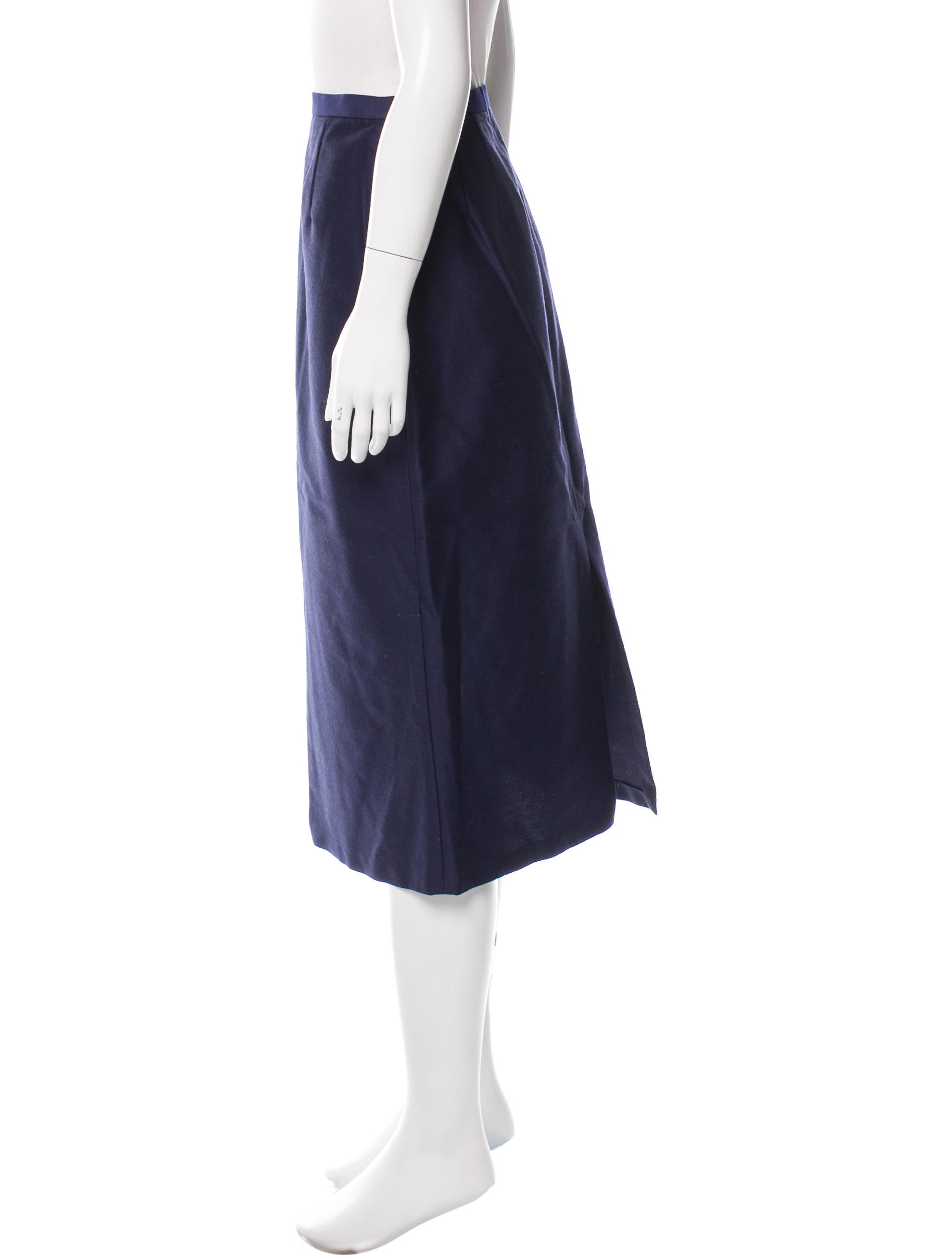 prada wool silk blend midi skirt clothing pra145056