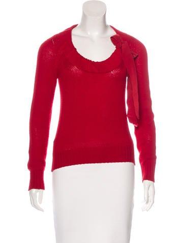 Prada Cashmere Bow-Accented Sweater None