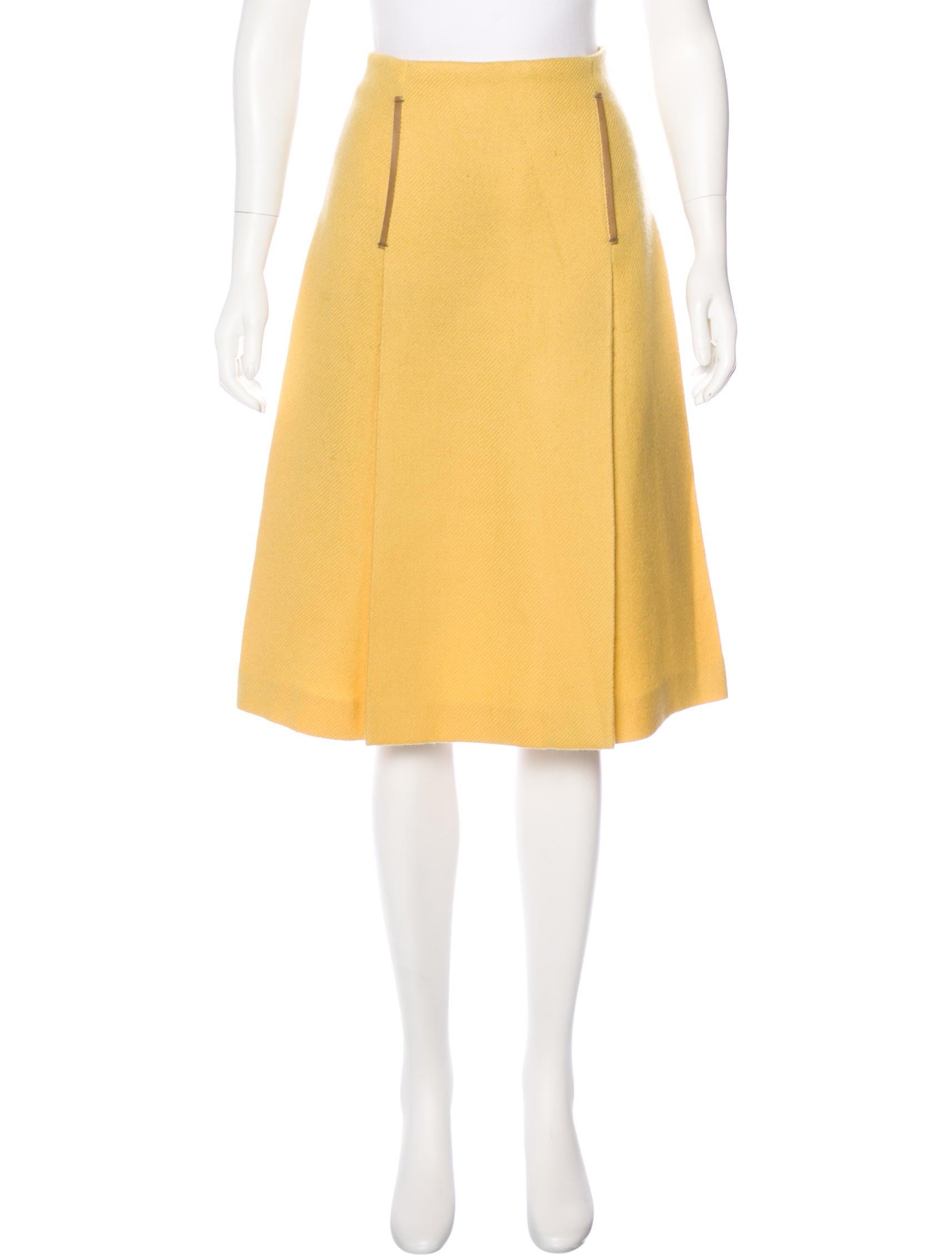 prada leather trimmed wool skirt clothing pra145265
